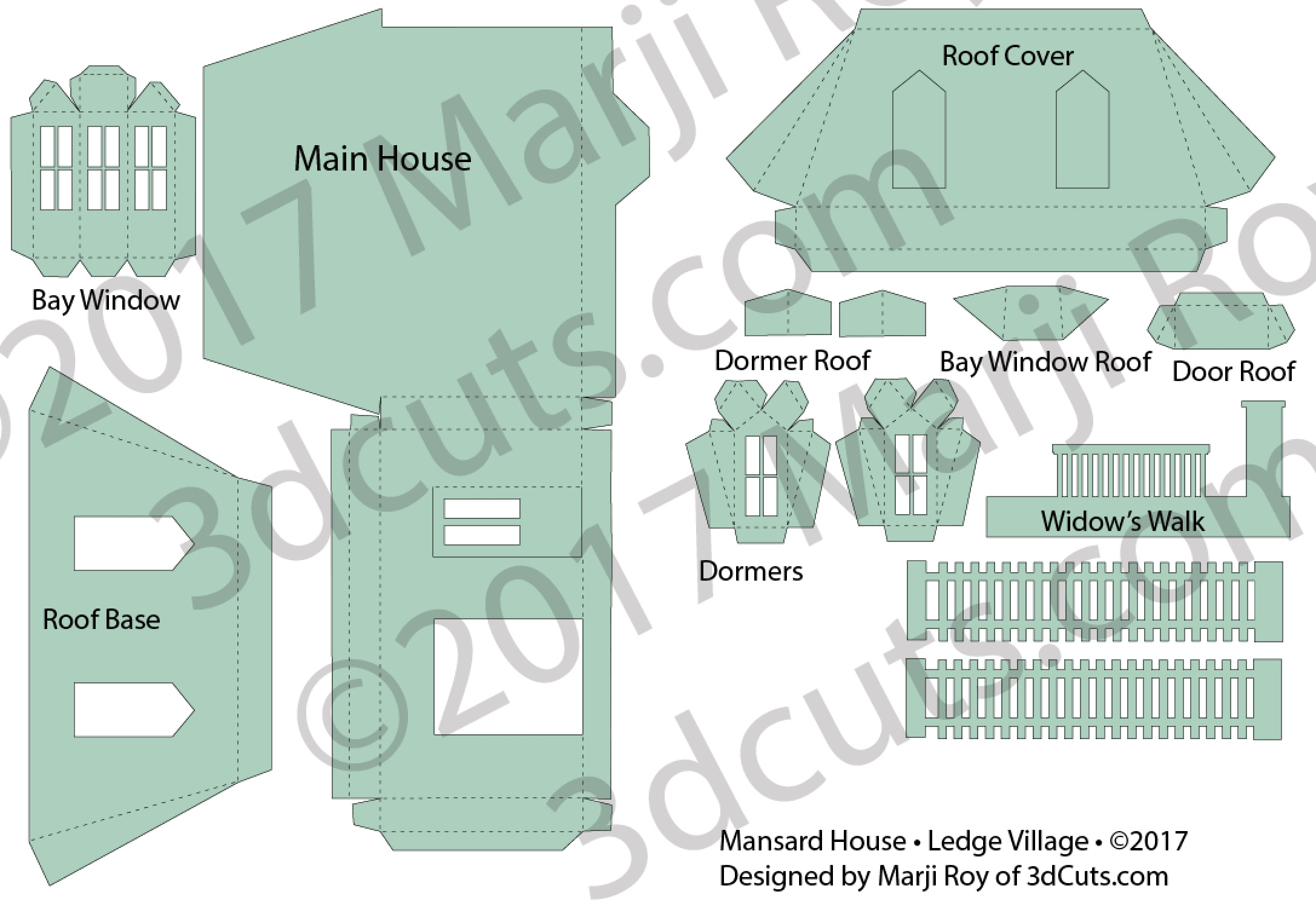 Mansard House cutting files is part of Ledge Village. These are cutting files in SVG, pdf, png, and dxf formats. Designed by Marji Roy of 3dcuts.com for Silhouette, Cricut and other cutting machines ©2017by Marji Roy