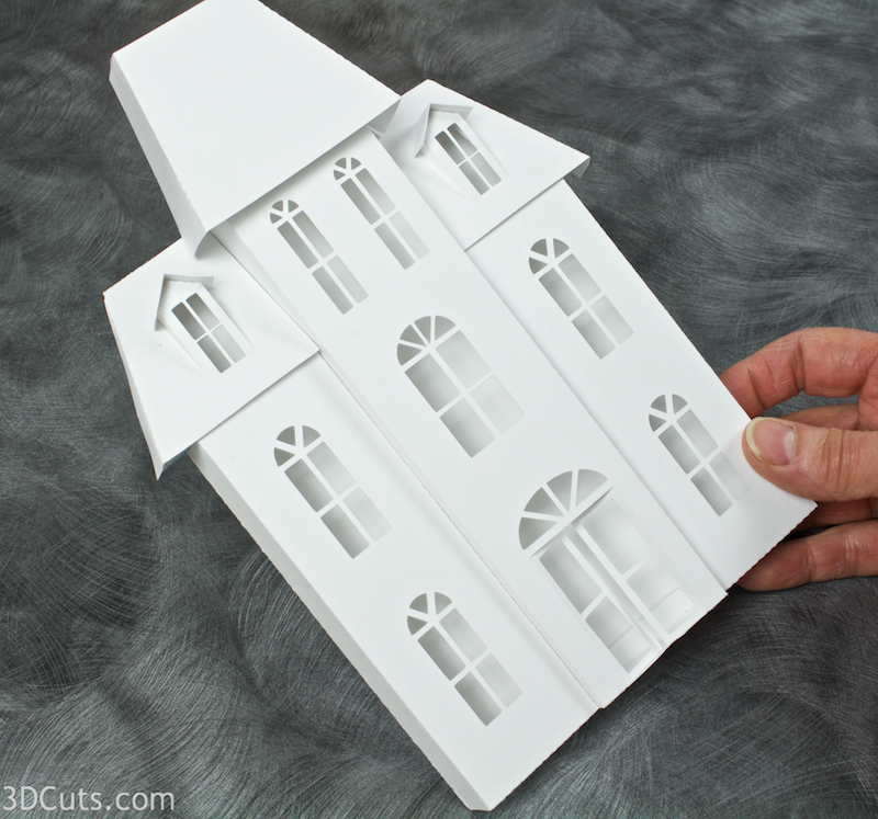 Ledge Village Town Hall cutting files in SVG, pdf, png, and dxf formats. Designed by Marji Roy of 3dcuts.com for Silhouette, Cricut and other cutting machines. Paper cutting files.