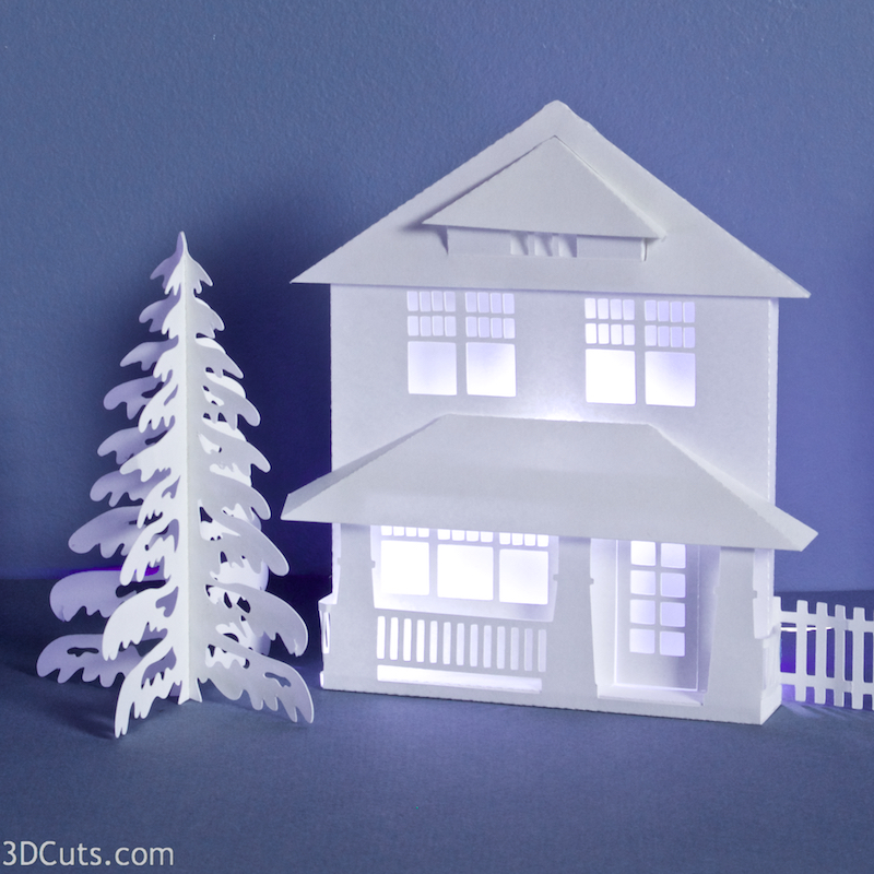 Fullerton House for Ledge Village designed by Marji Roy of 3dcuts.com. SVG cutting files for use with Silhouette, Cricut and other cutting machines. Sears Fullerton House