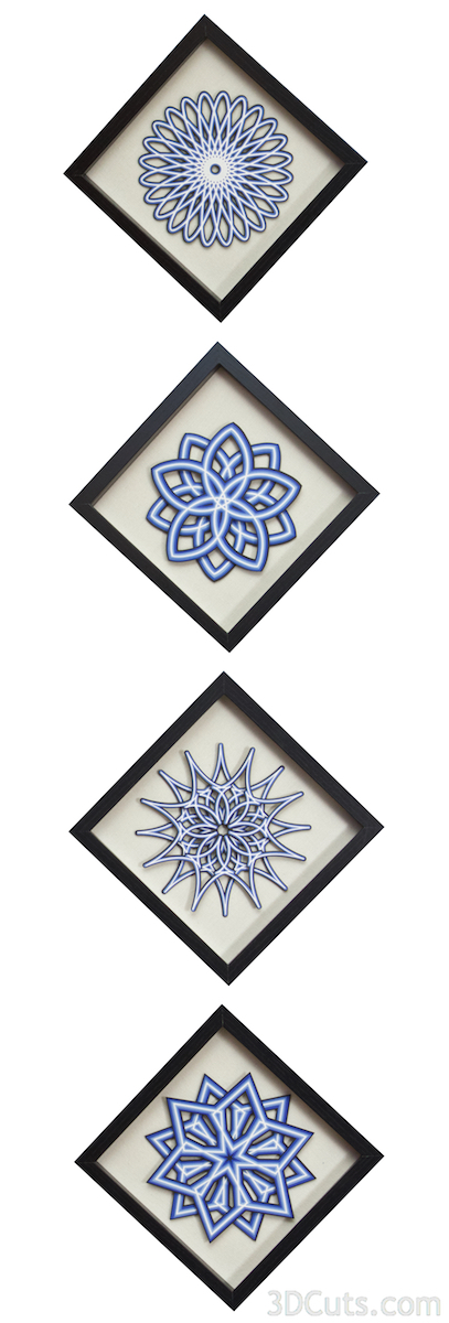 Layered Mandalas by Marji Roy at 3dcuts.com. SVG, PDF, DXF and PNG files available for cutting on your Silhouette, Cricut or other cutting machine.