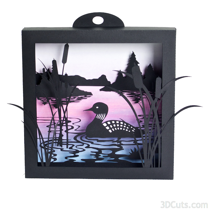 Loon Lake Shadow Box in paper by Marji Roy of 3dcuts.com. Cutting files in svg, pdf, and dxf formats for Silhouette and Cricut cutting machines