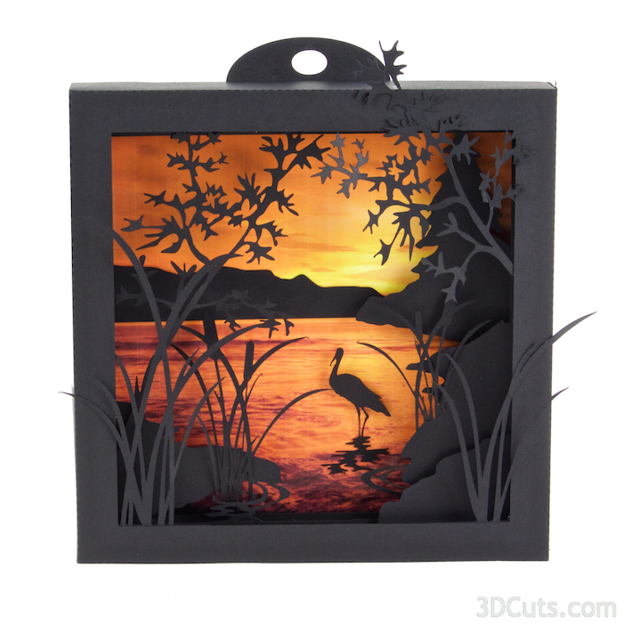 Heron Cove Shadow Box in paper by Marji Roy of 3dcuts.com. Cutting files in svg, pdf, and dxf formats for Silhouette and Cricut cutting machines