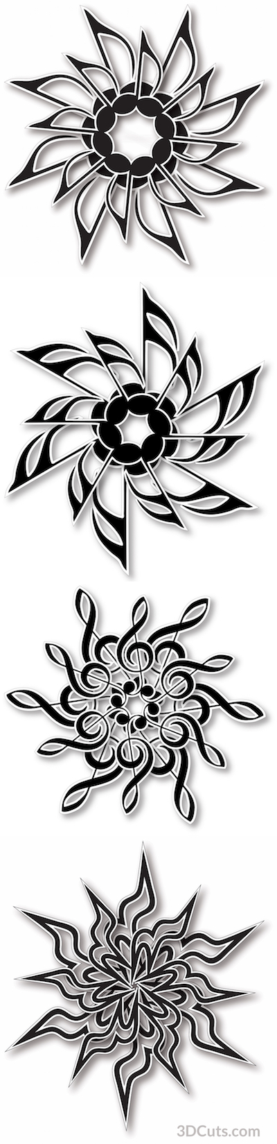 Musical Mandalas designs by Marji Roy of 3dcuts.com. Cutting files in svg, pdf, png, and dxf formats for Silhouette and Cricut cutting machines