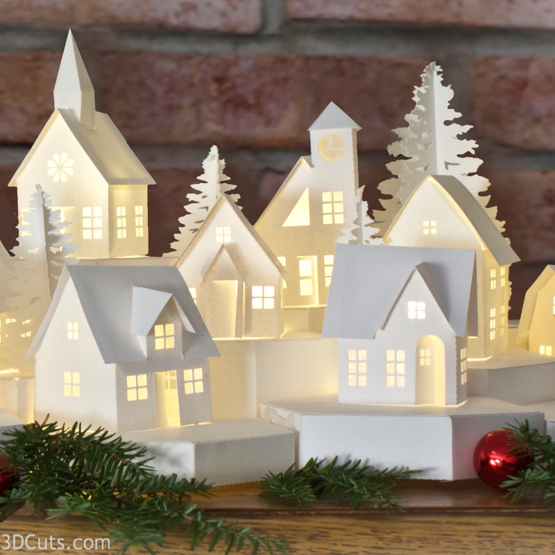 Stunning 3D illuminated tea light village by Marji Roy of 3dcuts.com. SVG, PDF, PNG and DXF cutting files and complete tutorials available. designed for Silhouette, Cricut, and other cutting machines.