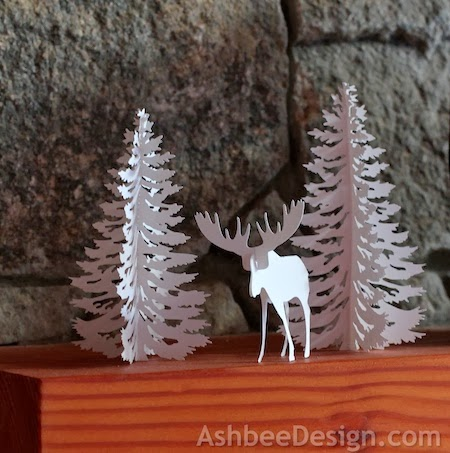 Handmade paper moose diorama by 3dCuts.com, Marji Roy, 3D cutting files in .svg, .dxf, png and .pdf formats for use with Silhouette and Cricut cutting machines, paper crafting files,