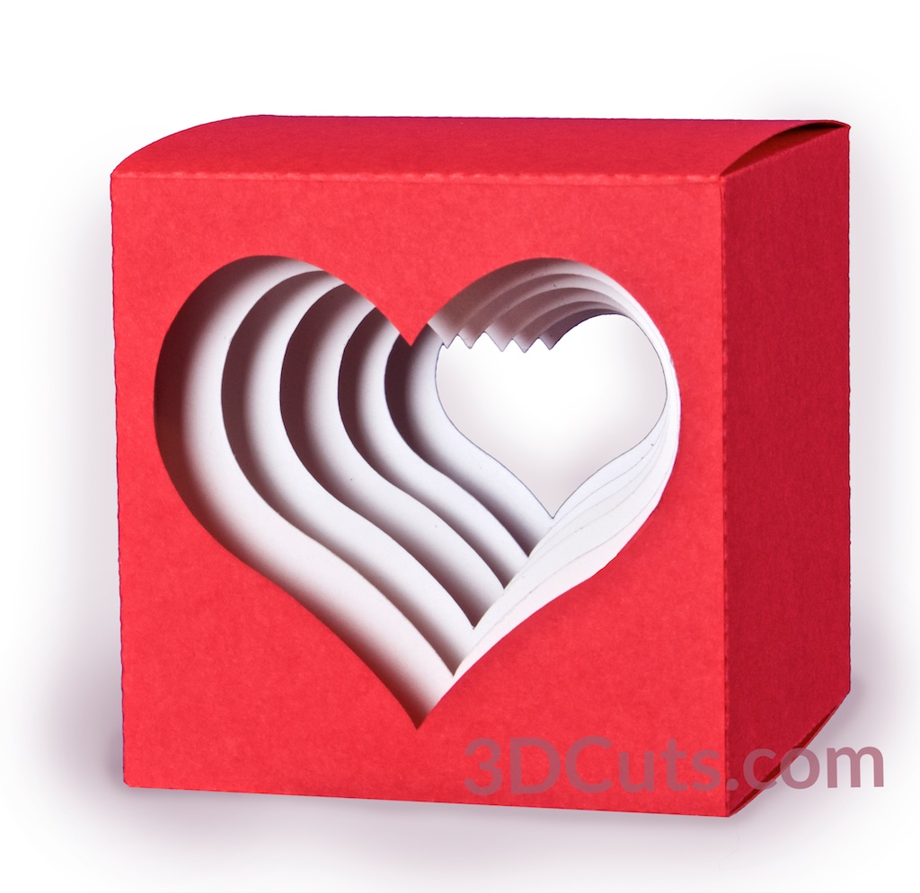 3D Heart Cube Shadow Box by 3dCuts.com, Folds flat for mailing by Marji Roy, 3D cutting files in .svg, .dxf, png and .pdf formats for use with Silhouette and Cricut cutting machines, paper crafting files,