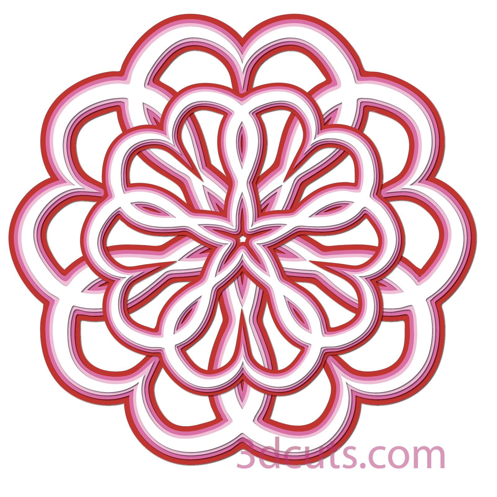 Layered Heart Mandala Designs for Valentine's Day 3dCuts.com,  by Marji Roy, 3D cutting files in .svg, .dxf, png and .pdf formats for use with Silhouette and Cricut cutting machines, paper crafting files,