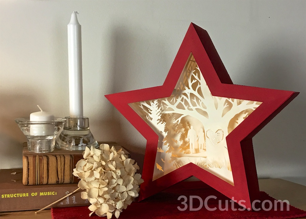 Stunning 3D illuminated Star Shadow Box by 3dCuts.com,by Marji Roy, 3D cutting files in .svg, .dxf, png and .pdf formats for use with Silhouette, Cricut and Brother cutting machines, paper crafting files,SVG Files