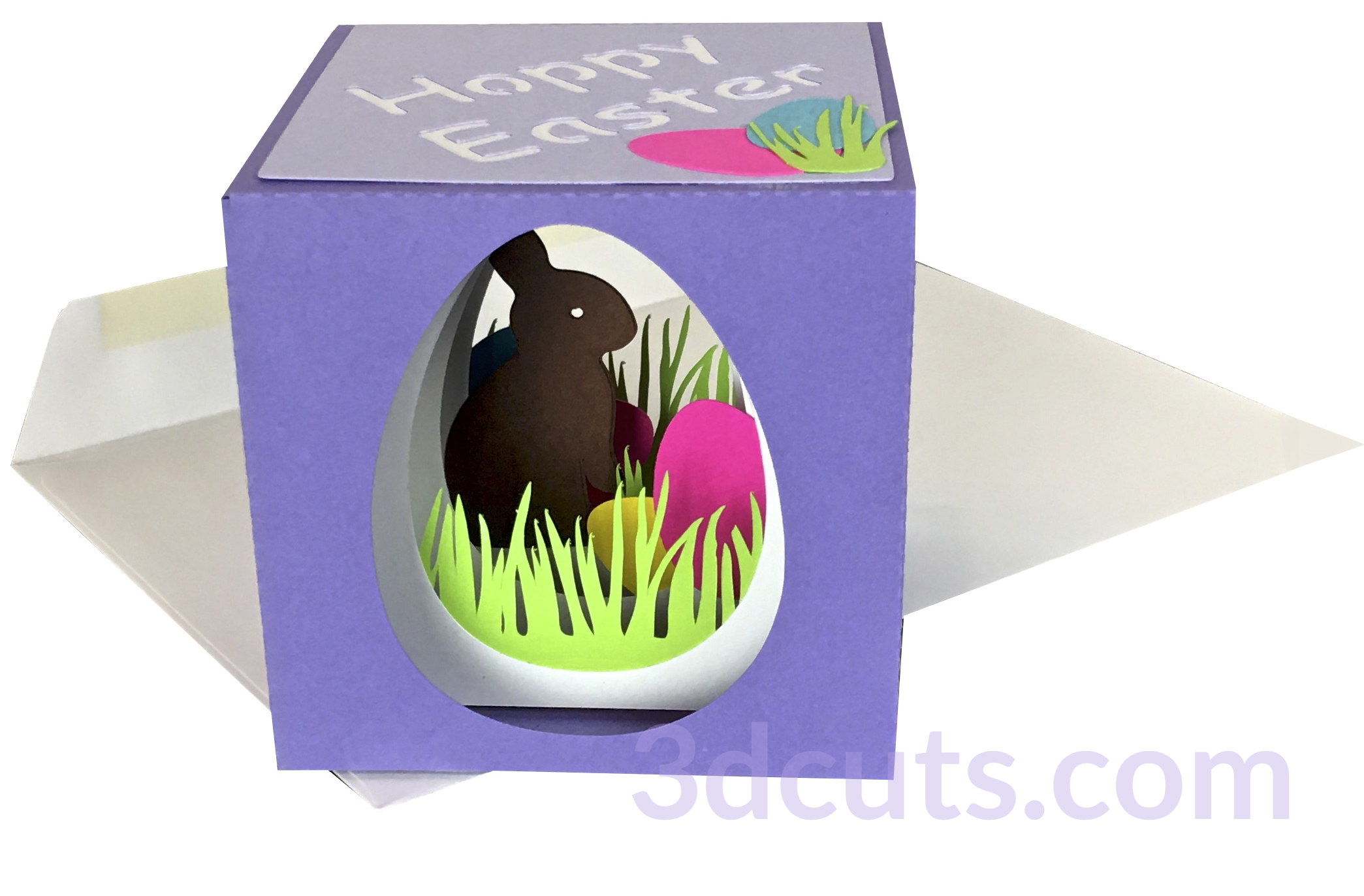 Easter Bunny Cube Card by 3dCuts.com, by Marji Roy, Cutting files in .svg, .dxf, png and .pdf formats for use with Silhouette, Cricut and Brother cutting machines, paper crafting files, SVG Files