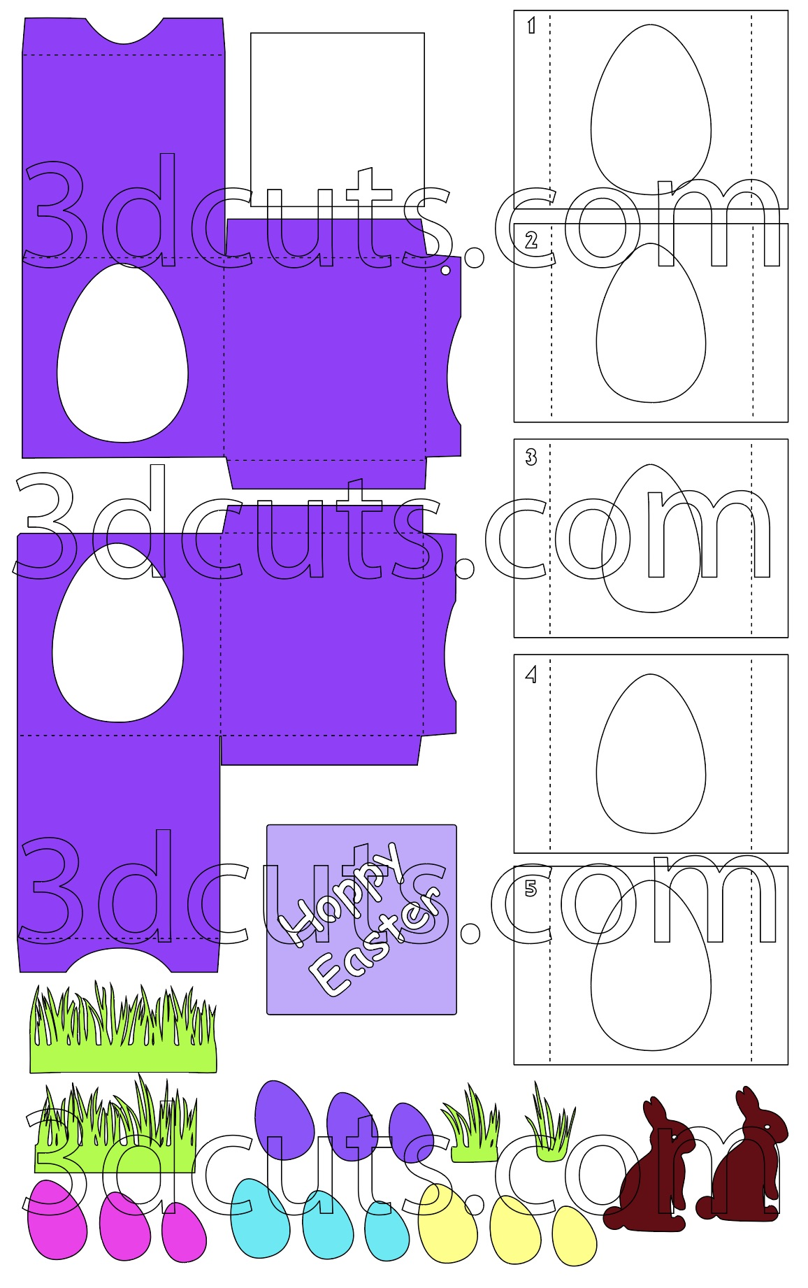 Easter Bunny 3D Cube Card by 3dCuts.com, by Marji Roy, Cutting files in .svg, .dxf, png and .pdf formats for use with Silhouette, Cricut and Brother cutting machines, paper crafting files, SVG Files