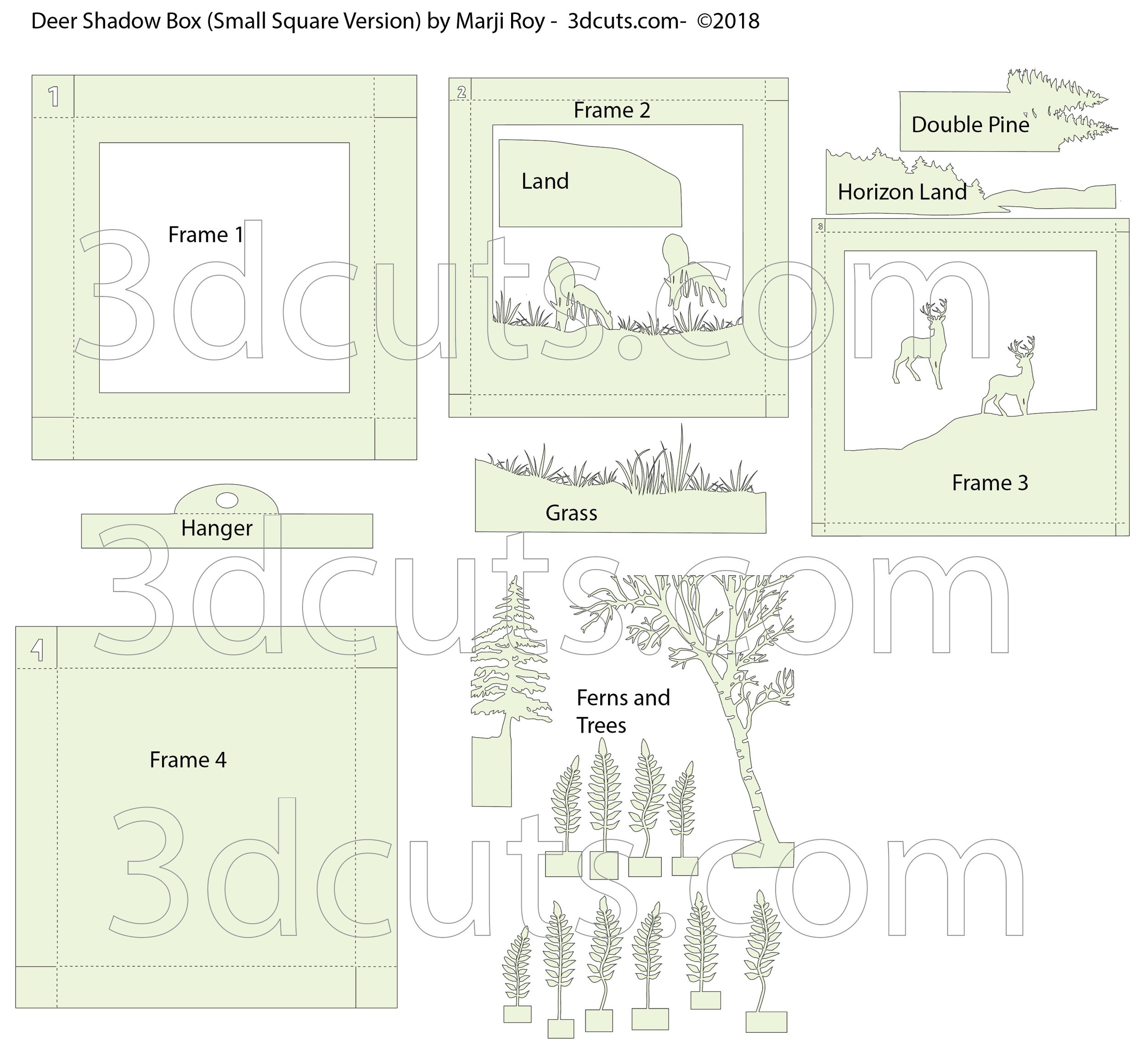 Layout for cutting files for Deer Box by 3dCuts.com, by Marji Roy, 3D cutting files in .svg, .dxf, png and .pdf formats for use with Silhouette, Cricut and Brother cutting machines, paper crafting files, SVG Files