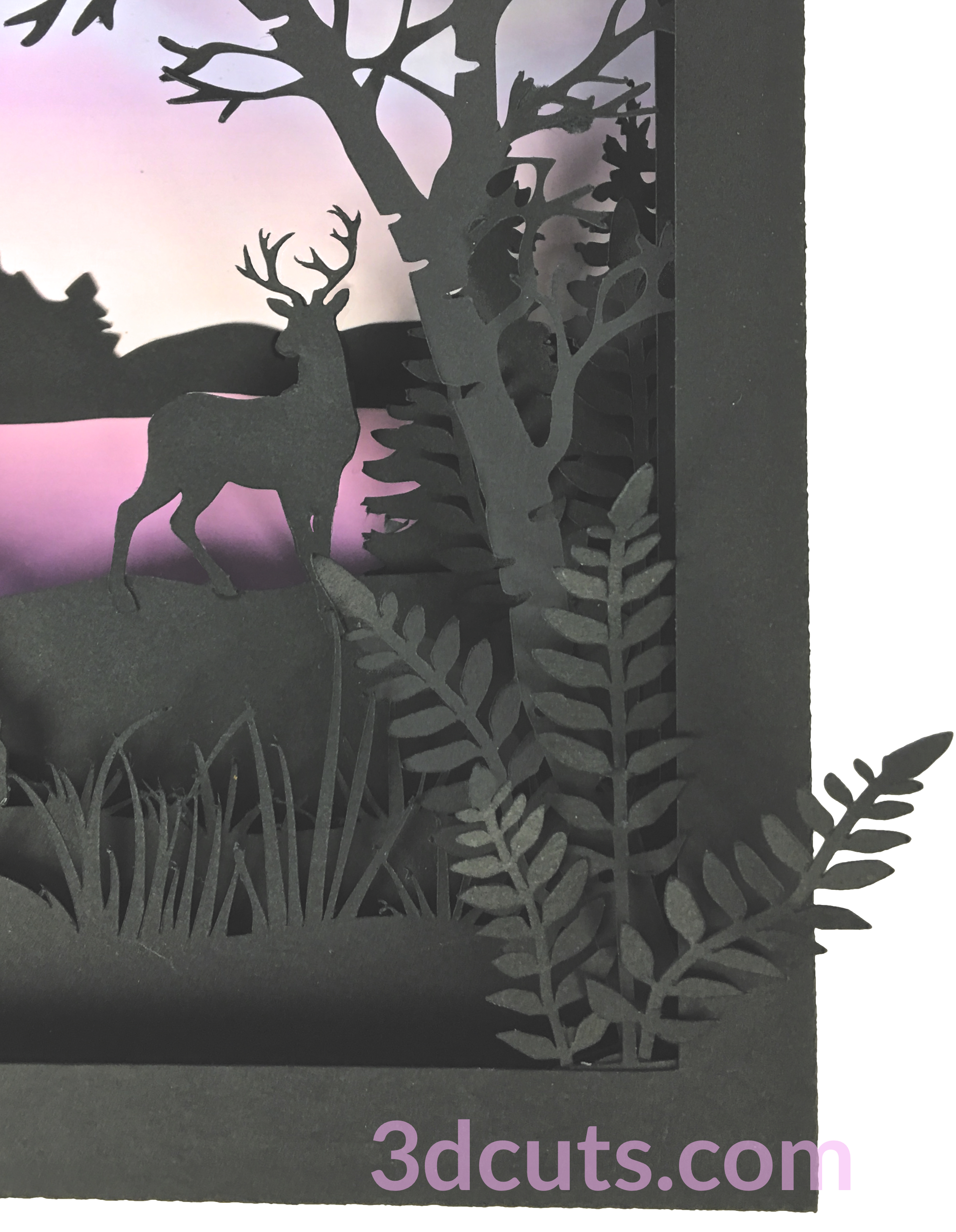 Detail - Deer Shadow box by Marji Roy of 3dcuts.com. This is a cutting file for use on Cricut and Silhouette cutting machine. It is made from card stock. Files available in svg, pdf, png and pdf formats.