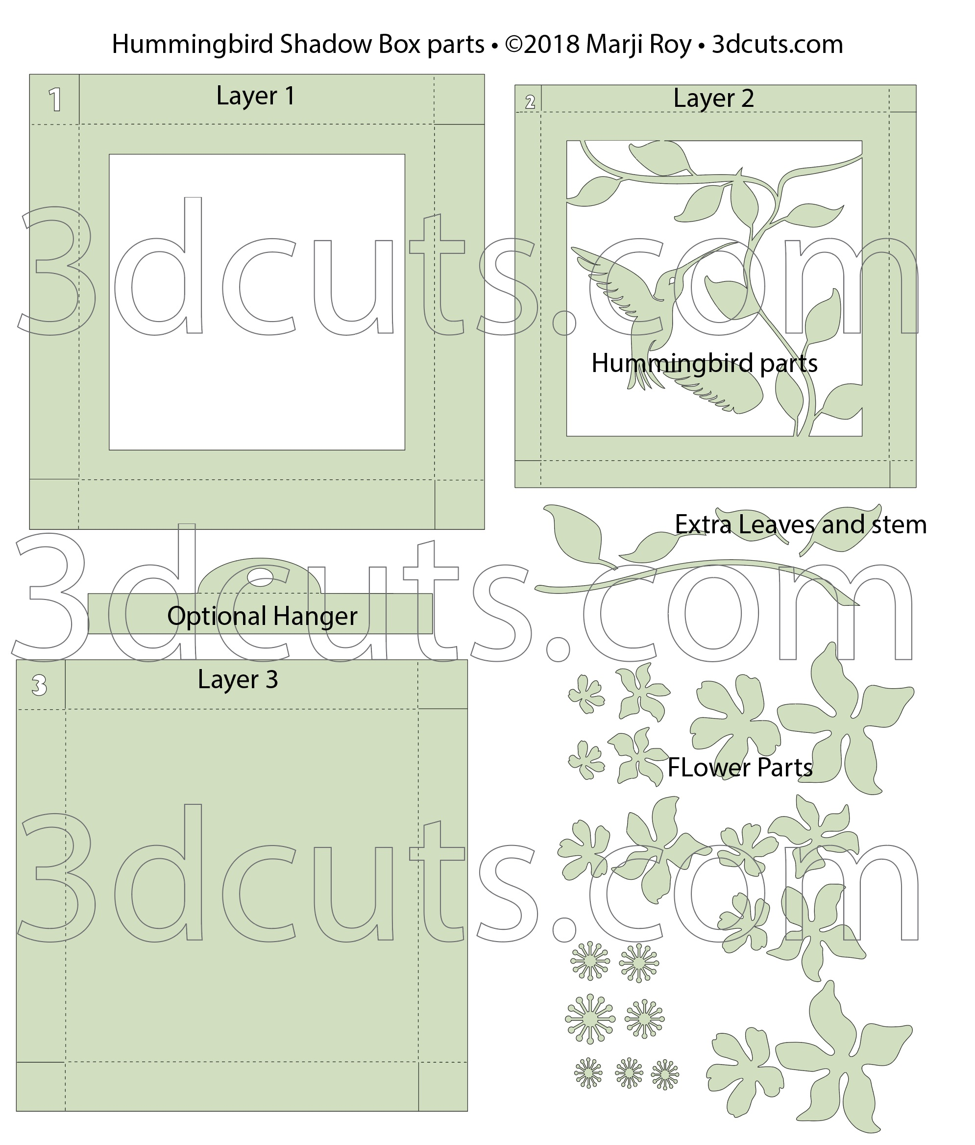 Layout for cutting files for Hummingbird Shadow Box by 3dCuts.com,by Marji Roy, 3D cutting files in .svg, .dxf, png and .pdf formats for use with Silhouette, Cricut and Brother cutting machines, paper crafting files,SVG Files