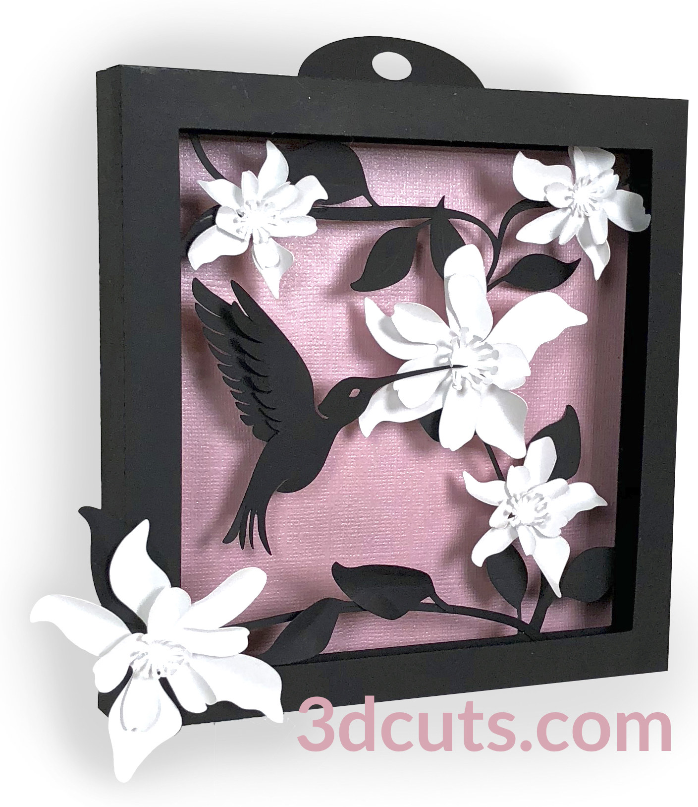 Hummingbird Shadow Box by 3dCuts.com, by Marji Roy, Cutting files in .svg, .dxf, png and .pdf formats for use with Silhouette, Cricut and Brother cutting machines, paper crafting files,