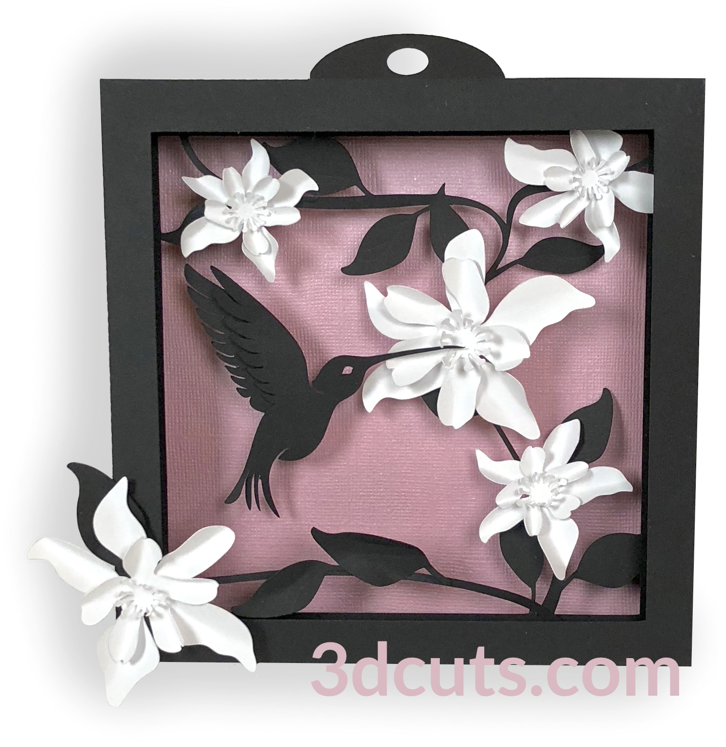 Hummingbird Shadow Box by 3dCuts.com, by Marji Roy, Cutting files in .svg, .dxf, png and .pdf formats for use with Silhouette, Cricut and Brother cutting machines, paper crafting files, SVG Files