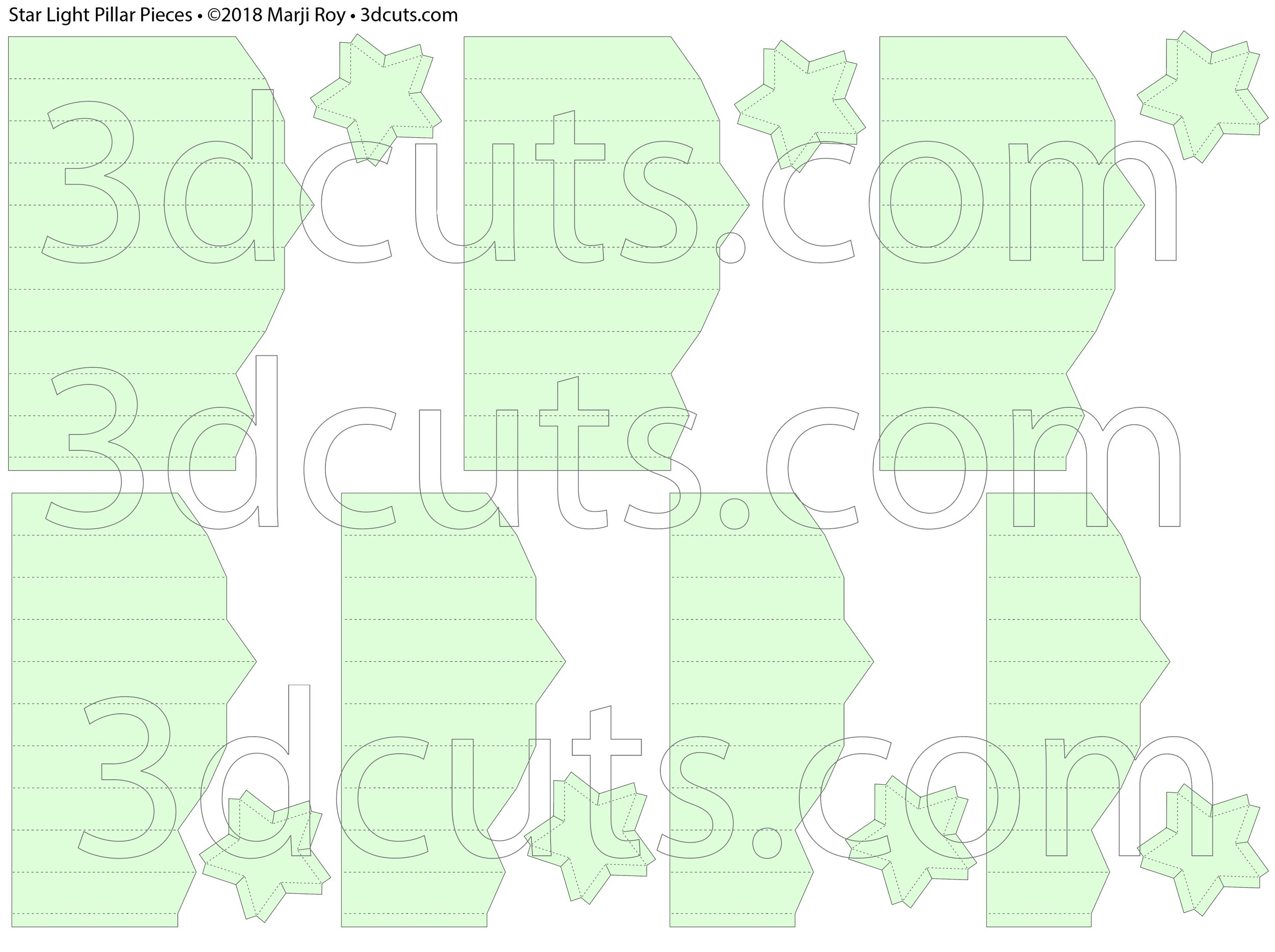 Star Light Pillars by 3dCuts.com, by Marji Roy, Cutting files in svg, dxf, png and pdf formats for use with Silhouette, Cricut and Brother cutting machines, paper crafting files, SVG Files
