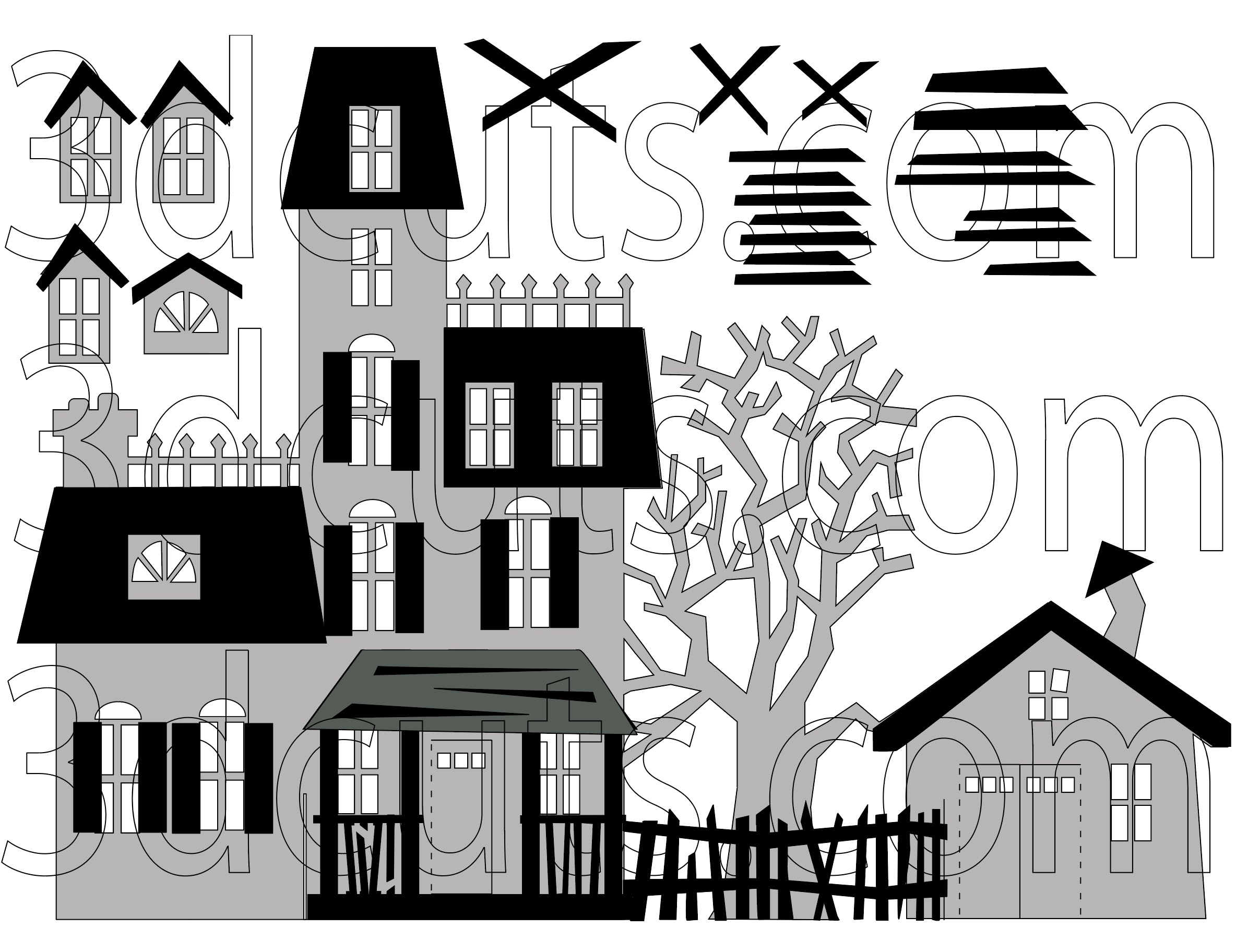 Follow this diagram for placement of the black details on Side 1. Lumber gets placed randomly over windows.