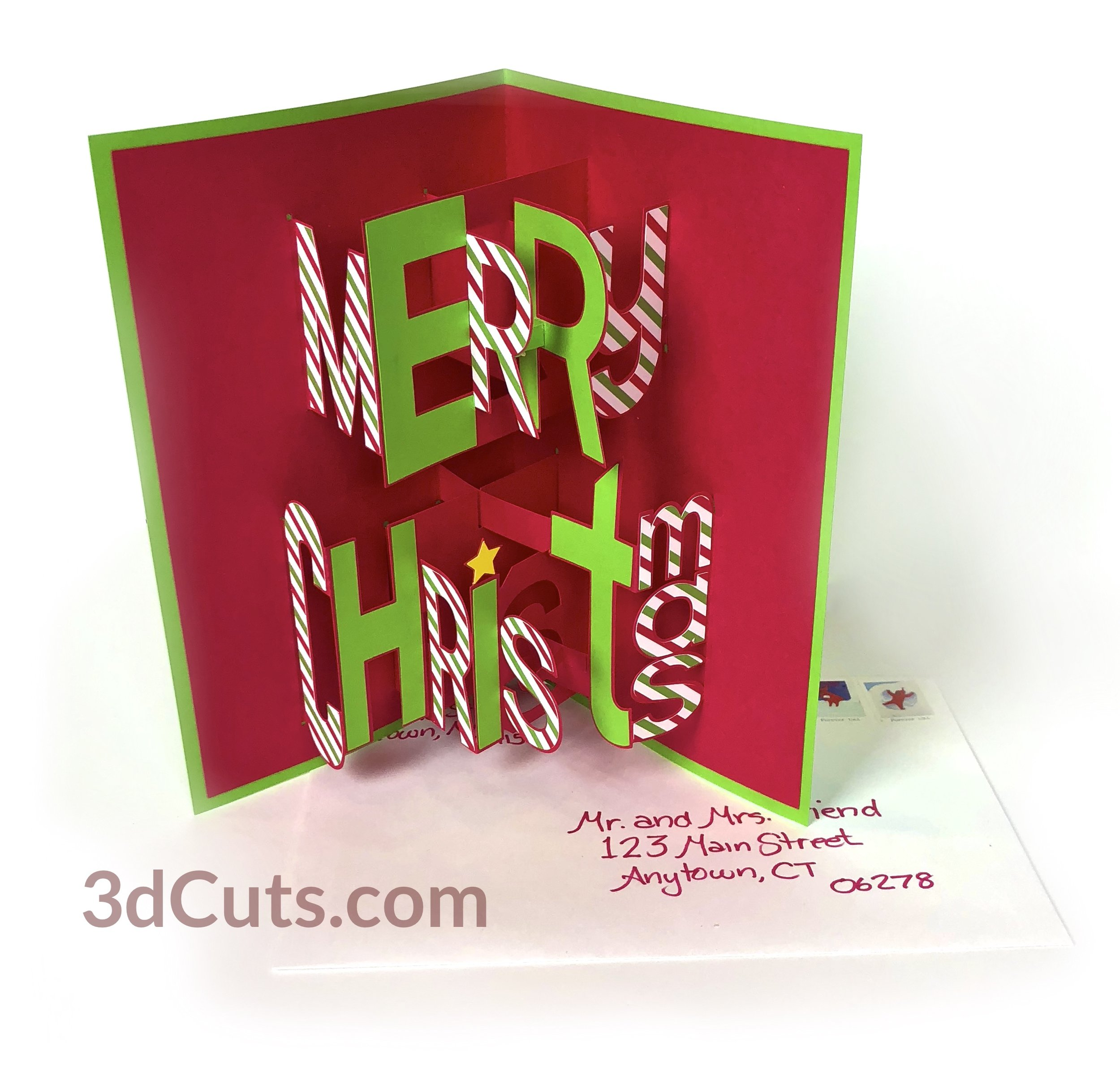 Merry Christmas Pop-up card - whimsy font, 3DCuts.com, Marji Roy, 3D cutting files in .svg, .dxf, and .pdf formats for use with Silhouette, Cricut and other cutting machines, paper crafting files