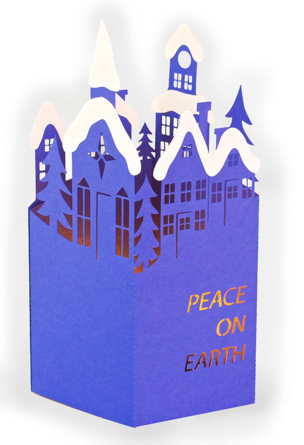 Snowy Town Christmas Card by 3DCuts.com, Marji Roy, 3D cutting files in .svg, .dxf, and .pdf formats for use with Silhouette, Cricut and other cutting machines, paper crafting files