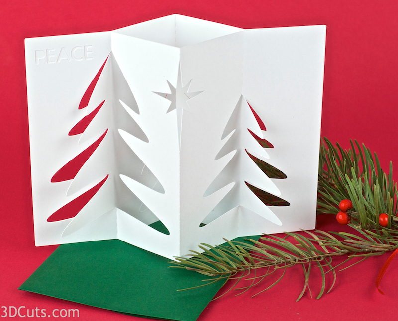 Accordian Christmas card by 3DCuts.com, Marji Roy, 3D cutting files in .svg, .dxf, and .pdf formats for use with Silhouette, Cricut and other cutting machines, paper crafting files