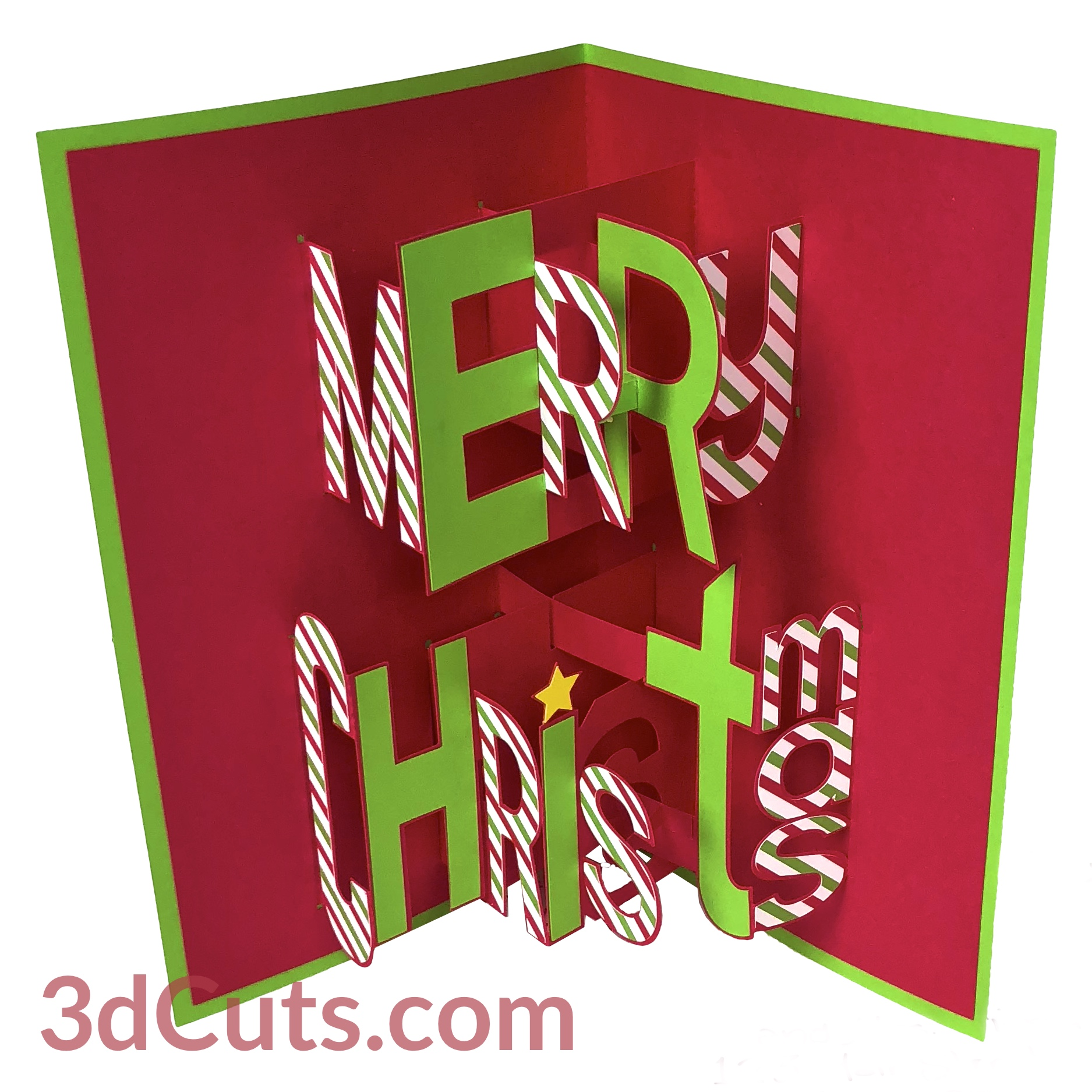 Merry Christmas card 3d pop-up with whimsy font, 3DCuts.com, Marji Roy, 3D cutting files in .svg, .dxf, and .pdf formats for use with Silhouette, Cricut and other cutting machines, paper crafting files