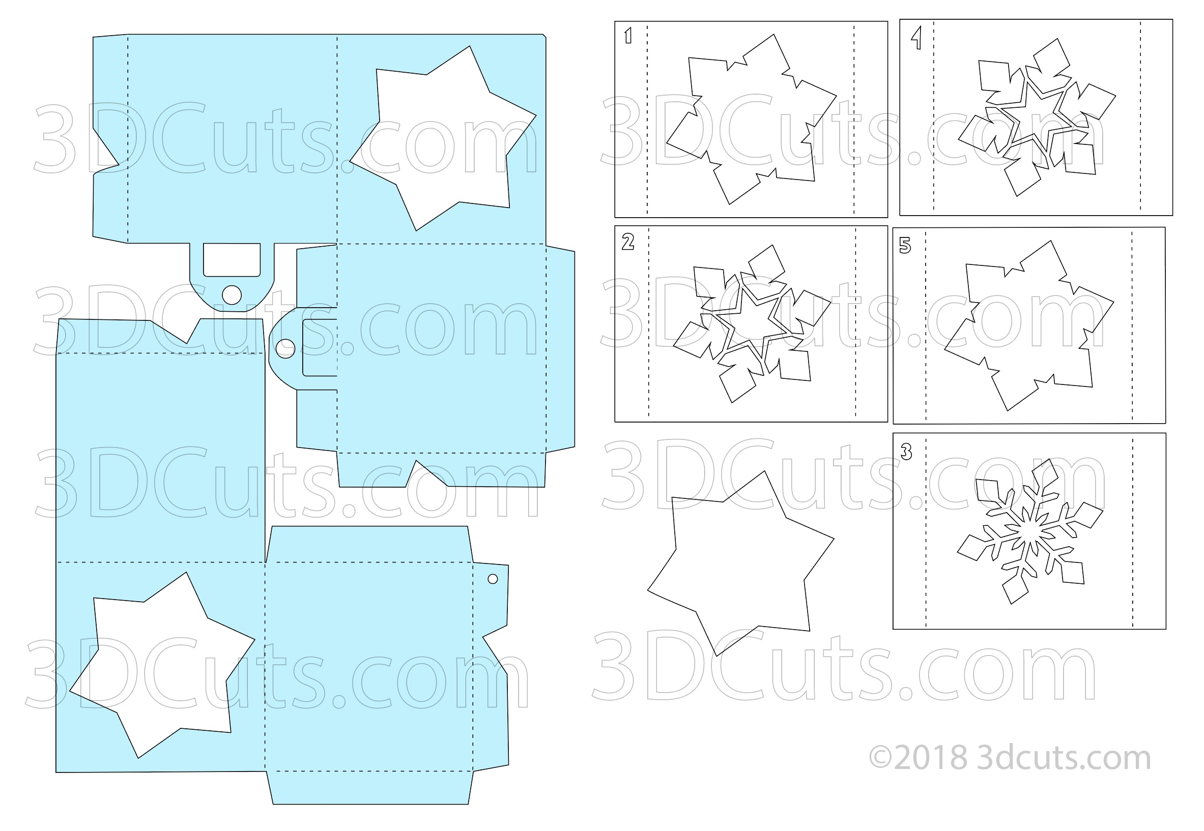 File layout for the Snowflake Cube Shadow Box Ornament by Marji Roy of 3dcuts.com.