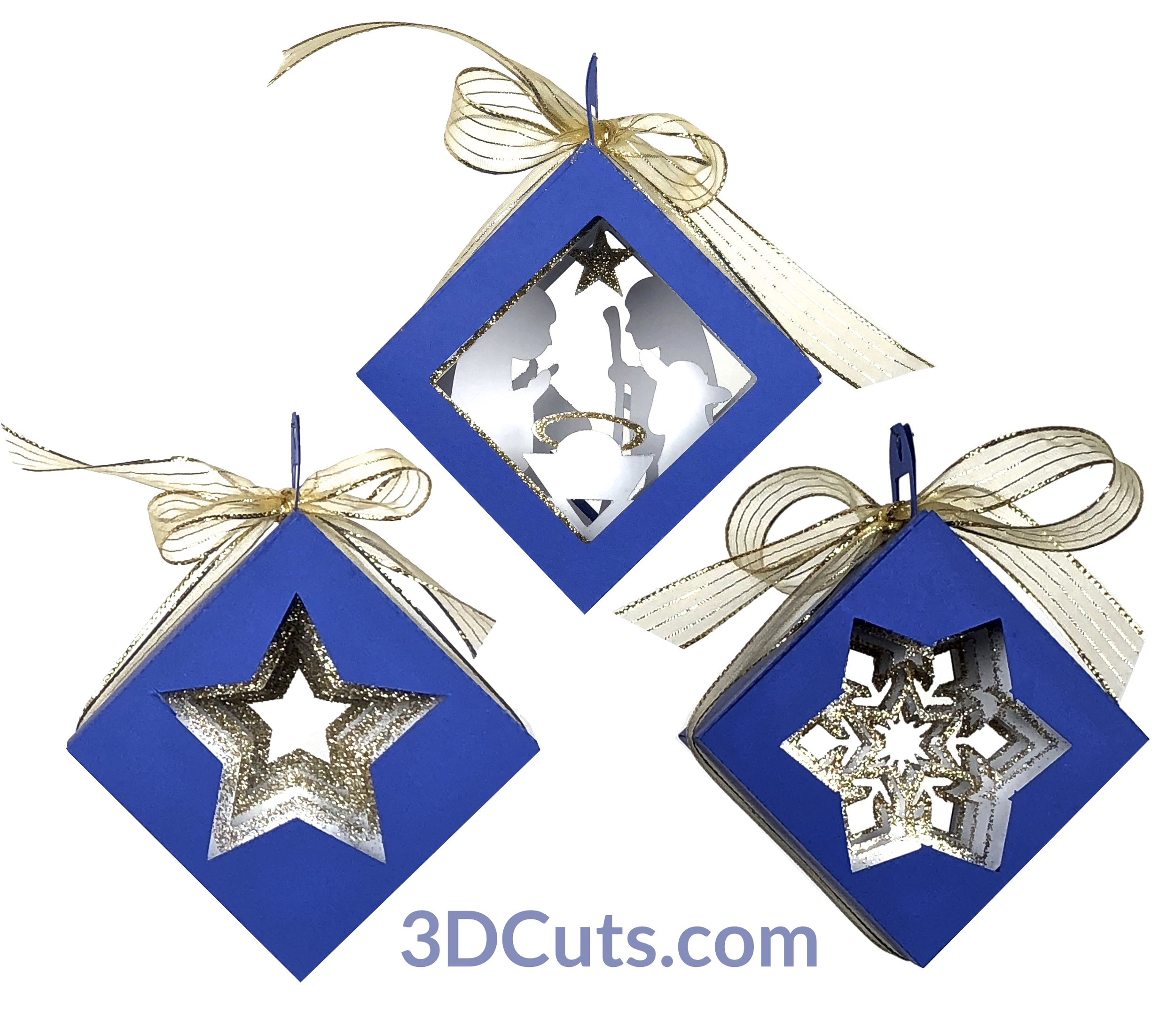 Cube Shadow Box Christmas Tree Ornaments, 3DCuts.com, Marji Roy, 3D cutting files in .svg, .dxf, and .pdf formats for use with Silhouette, Cricut and other cutting machines, paper crafting files