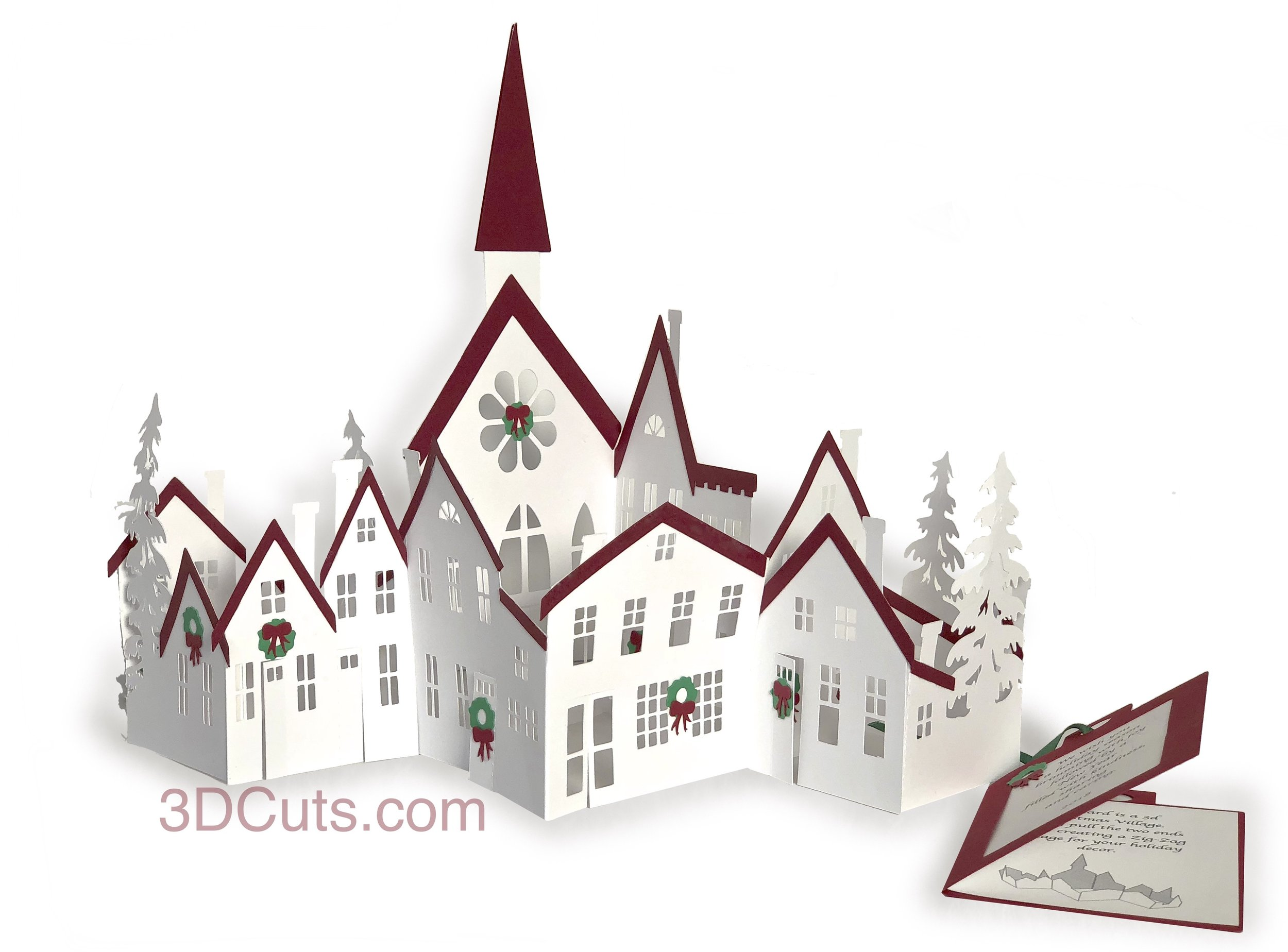 ZiZag Villagel, 3DCuts.com, Marji Roy, 3D cutting files in .svg, .dxf, and .pdf formats for use with Silhouette, Cricut and other cutting machines, paper crafting files