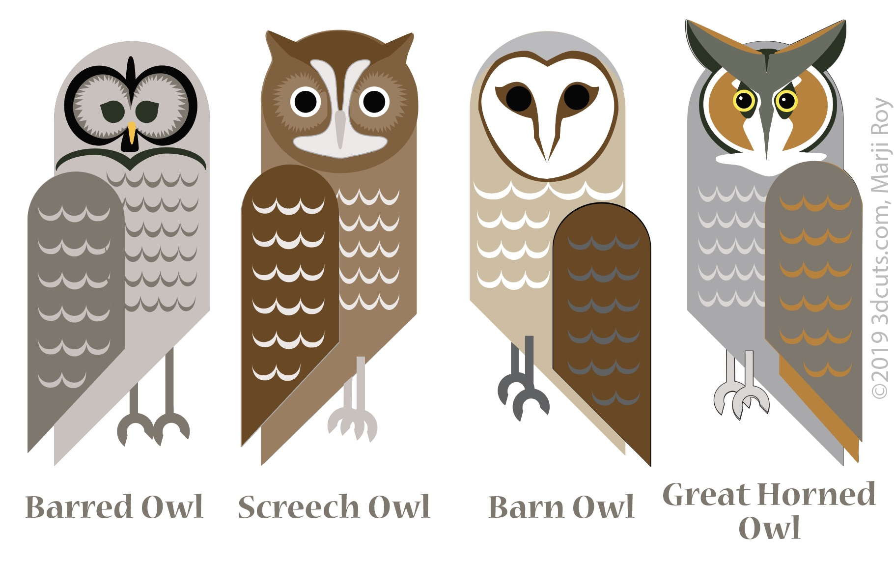 Owl Series by 3DCuts.com, Marji Roy, 3D cutting files in .svg, .dxf, and .pdf formats for use with Silhouette, Cricut and other cutting machines.