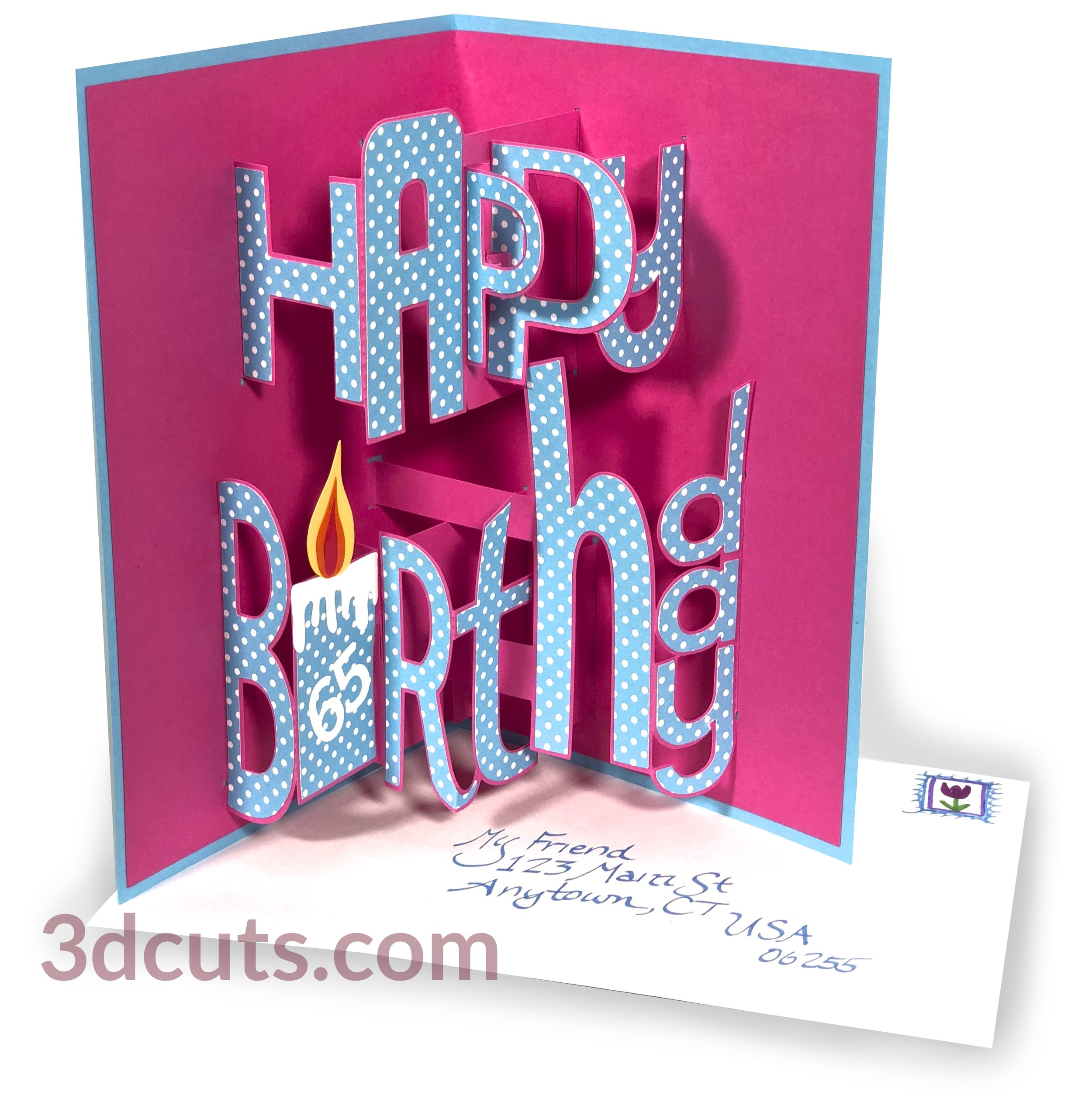 Whimsy Font Pop-up Happy Birthday Card, 3DCuts.com, Marji Roy, 3D cutting files in .svg, .dxf, and .pdf formats for use with Silhouette, Cricut and other cutting machines, paper crafting files