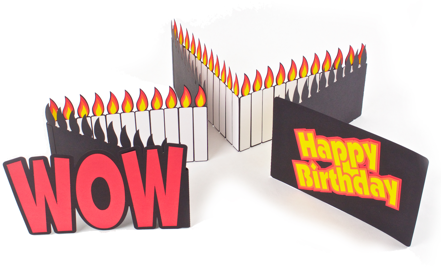 WOW Birthday Card by 3DCuts.com, Marji Roy, 3D cutting files in .svg, .dxf, and .pdf formats for use with Silhouette, Cricut and other cutting machines, paper crafting files