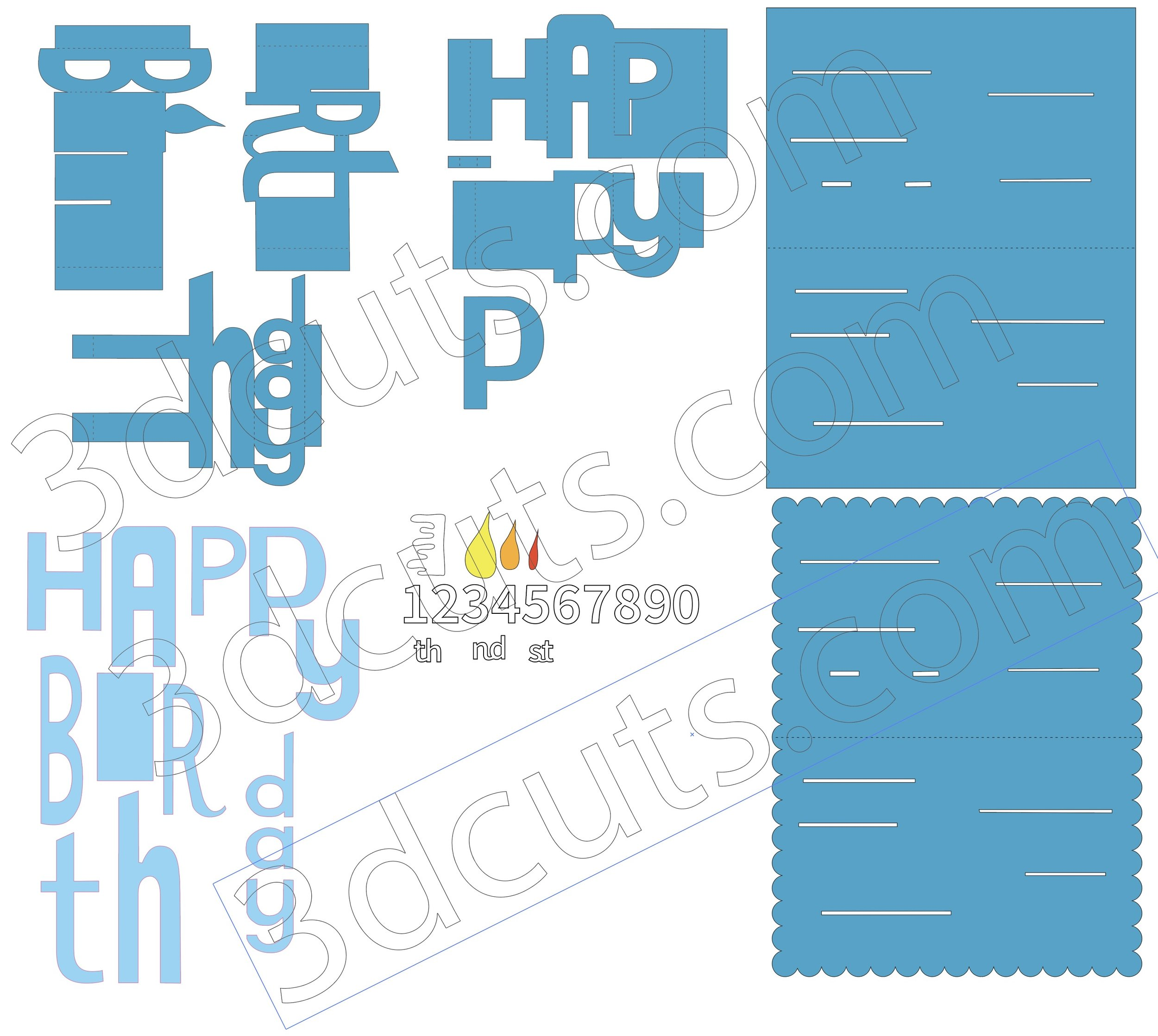 Happy Birthday Pop-up card - whimsy font, 3DCuts.com, Marji Roy, 3D cutting files in .svg, .dxf, and .pdf formats for use with Silhouette, Cricut and other cutting machines, paper crafting files