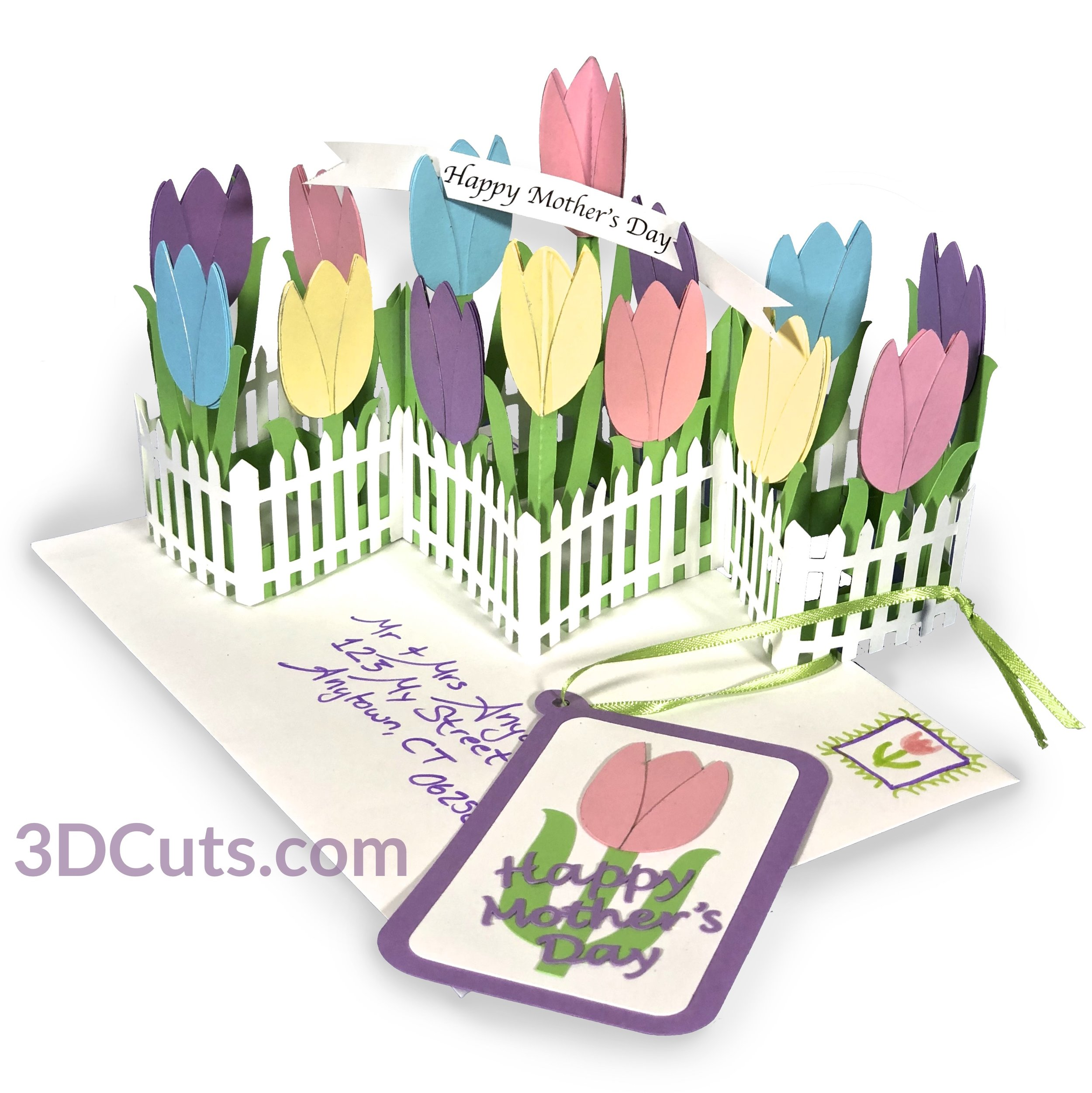 Zig Zag Tulip Card for Easter, Spring or Mother's Day, 3DCuts.com, Marji Roy, 3D cutting files in .svg, .dxf, and .pdf formats for use with Silhouette, Cricut and other cutting machines, paper crafting files