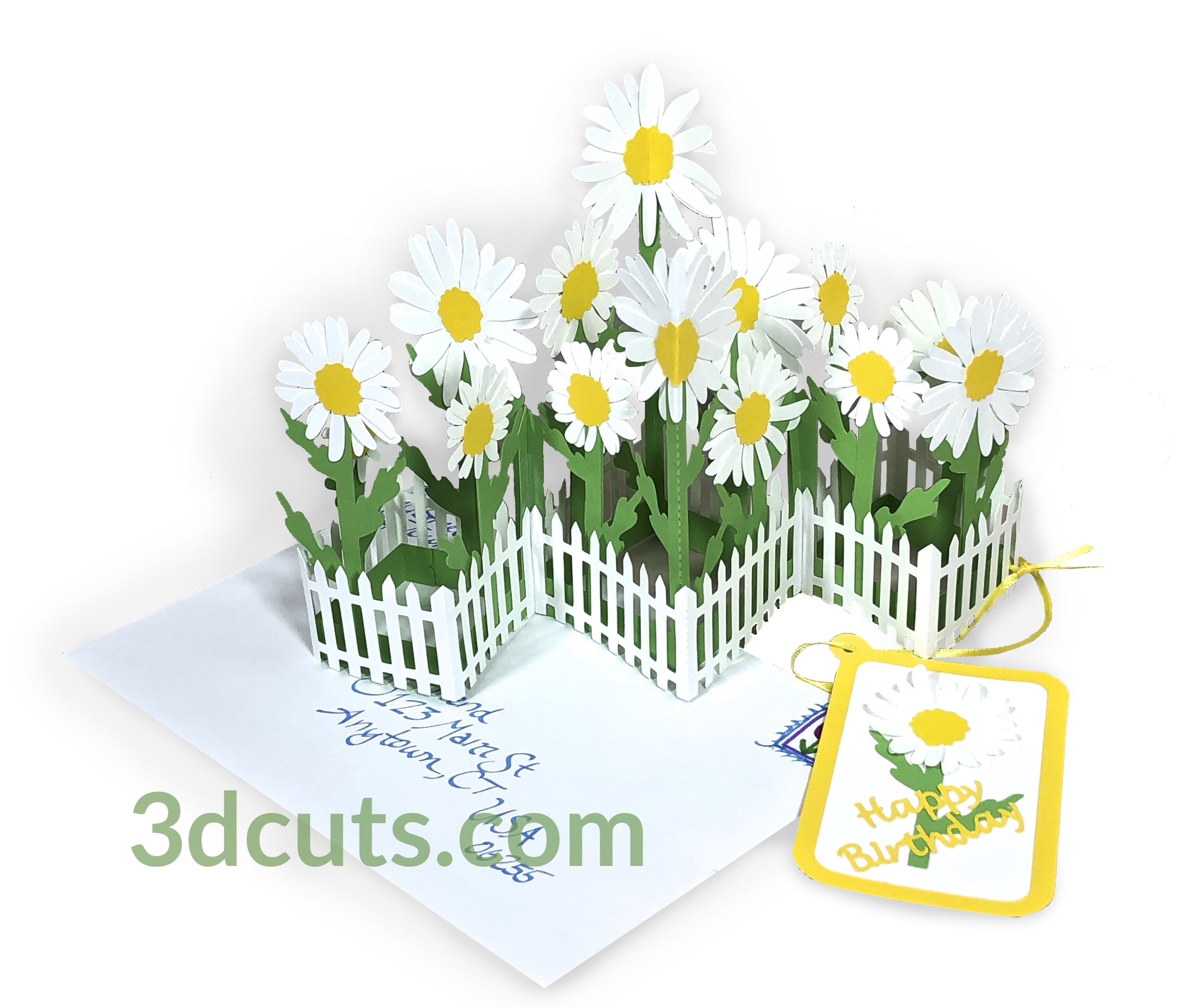 Zig Zag Daisy Card for Easter, Spring or Mother's Day, 3DCuts.com, Marji Roy, 3D cutting files in .svg, .dxf, and .pdf formats for use with Silhouette, Cricut and other cutting machines, paper crafting files