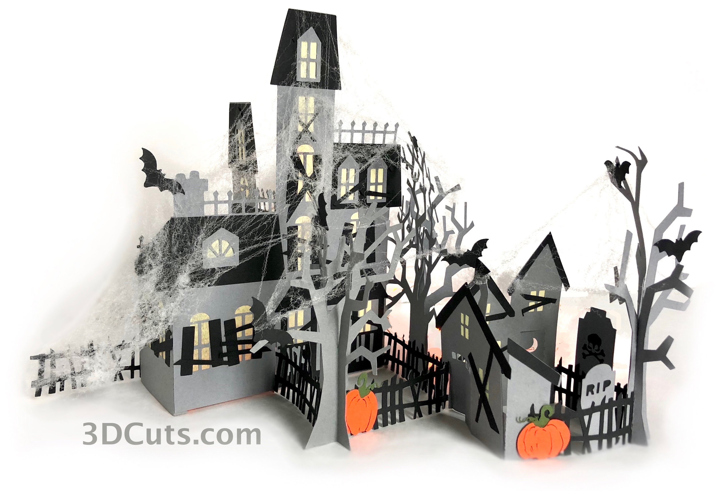 Zig Zag HauntedHouse Zig Zag , ©3DCuts.com, Marji Roy, 3D cutting files in .svg, .dxf, and .pdf formats for use with Silhouette, Cricut and other cutting machines, paper crafting files