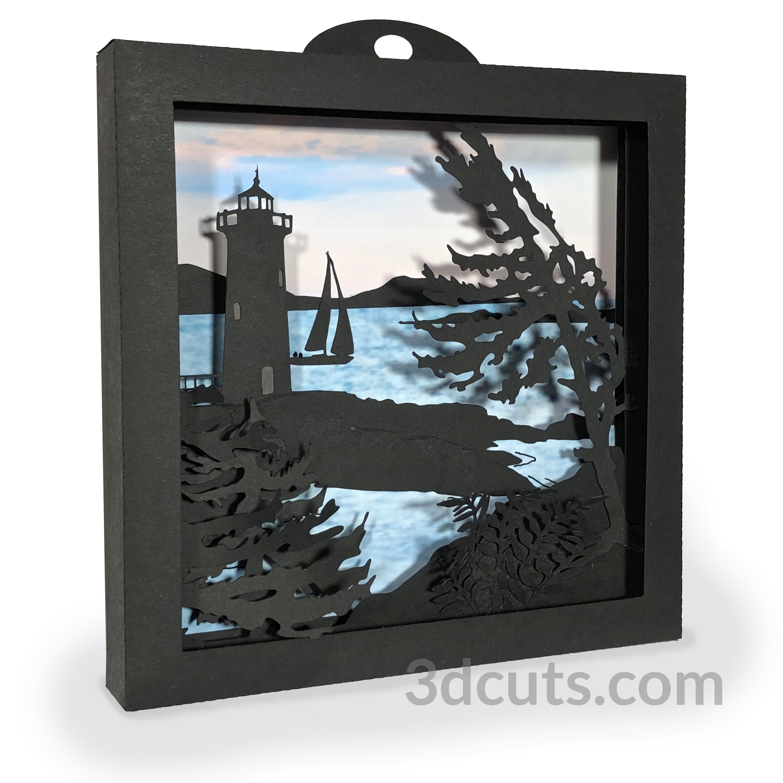 Lighthouse Shadow Box by 3dCuts.com, by Marji Roy, Cutting files in .svg, .dxf, png and .pdf formats for use with Silhouette, Cricut and Brother cutting machines, paper crafting files, SVG Files