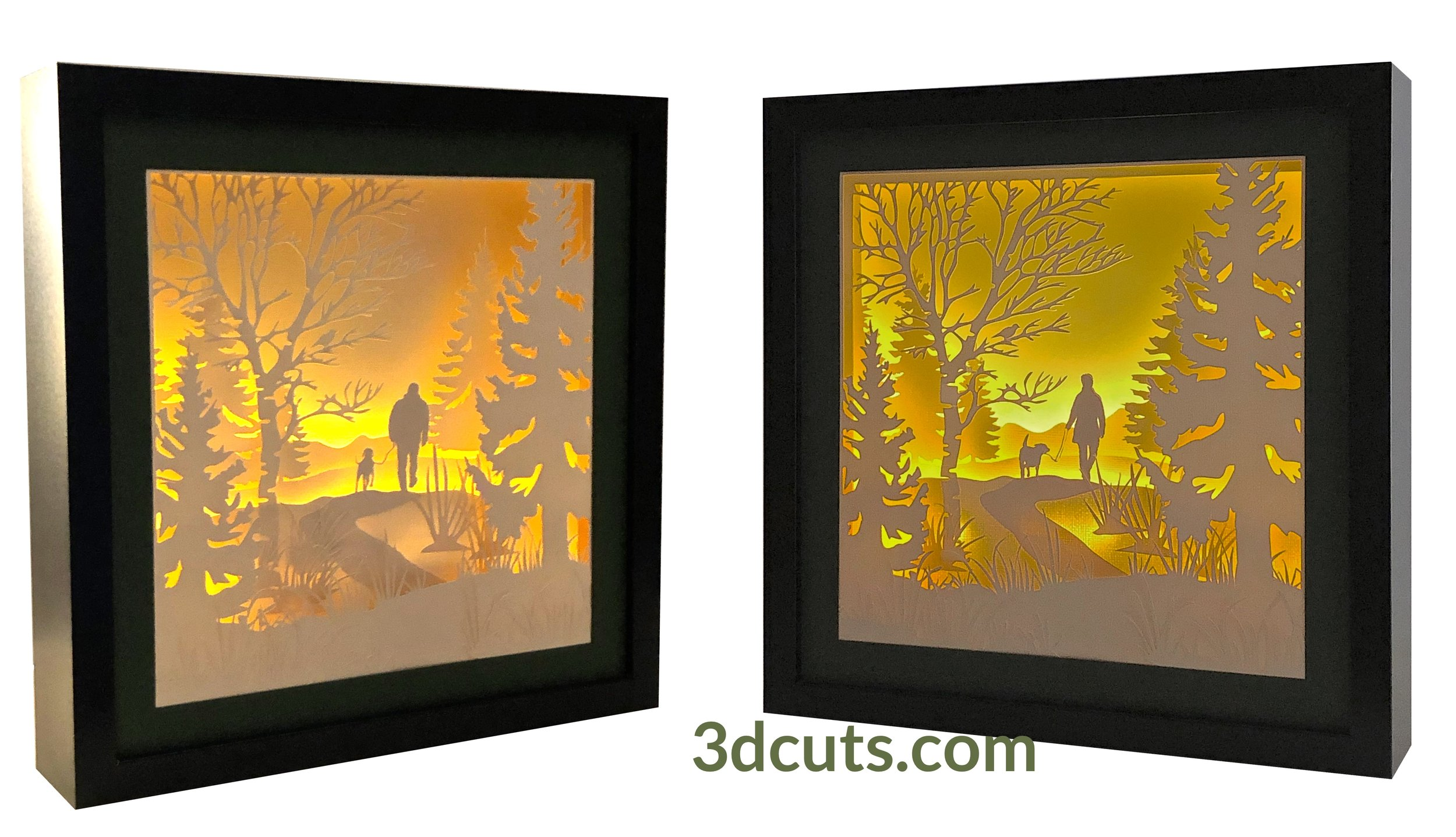 Stunning 3D illuminated Companionship Shadow Boxes by 3dCuts.com, by Marji Roy, 3D cutting files in .svg, .dxf, png and .pdf formats for use with Silhouette, Cricut and Brother cutting machines, paper crafting files, SVG Files