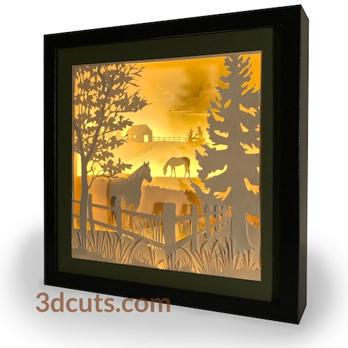 3D illuminated Horses Grazing Square Shadow Box by 3dCuts.com, by Marji Roy, 3D cutting files in .svg, .dxf, png and .pdf formats for use with Silhouette, Cricut and Brother cutting machines, paper crafting files, SVG Files
