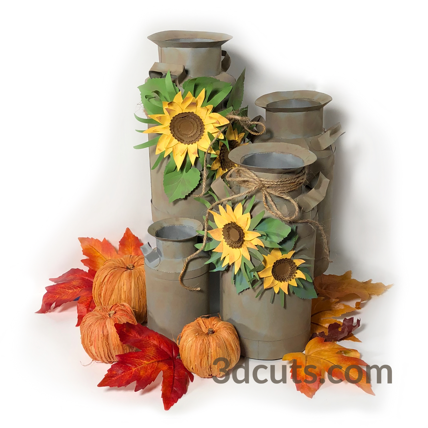 3D Milk Can with Sunflowers by 3dCuts.com, by Marji Roy, 3D cutting files in .svg, .dxf, png and .pdf formats for use with Silhouette, Cricut and Brother cutting machines, paper crafting files, SVG Files