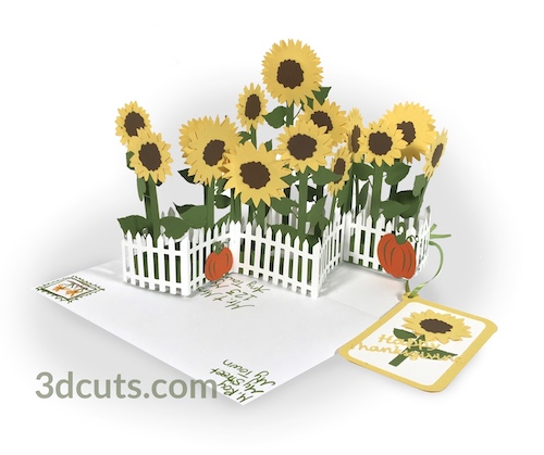 Sunflower Zig Zag Card, ©3DCuts.com, Marji Roy, 3D cutting files in .svg, .dxf, and .pdf formats for use with Silhouette, Cricut and other cutting machines, paper crafting files