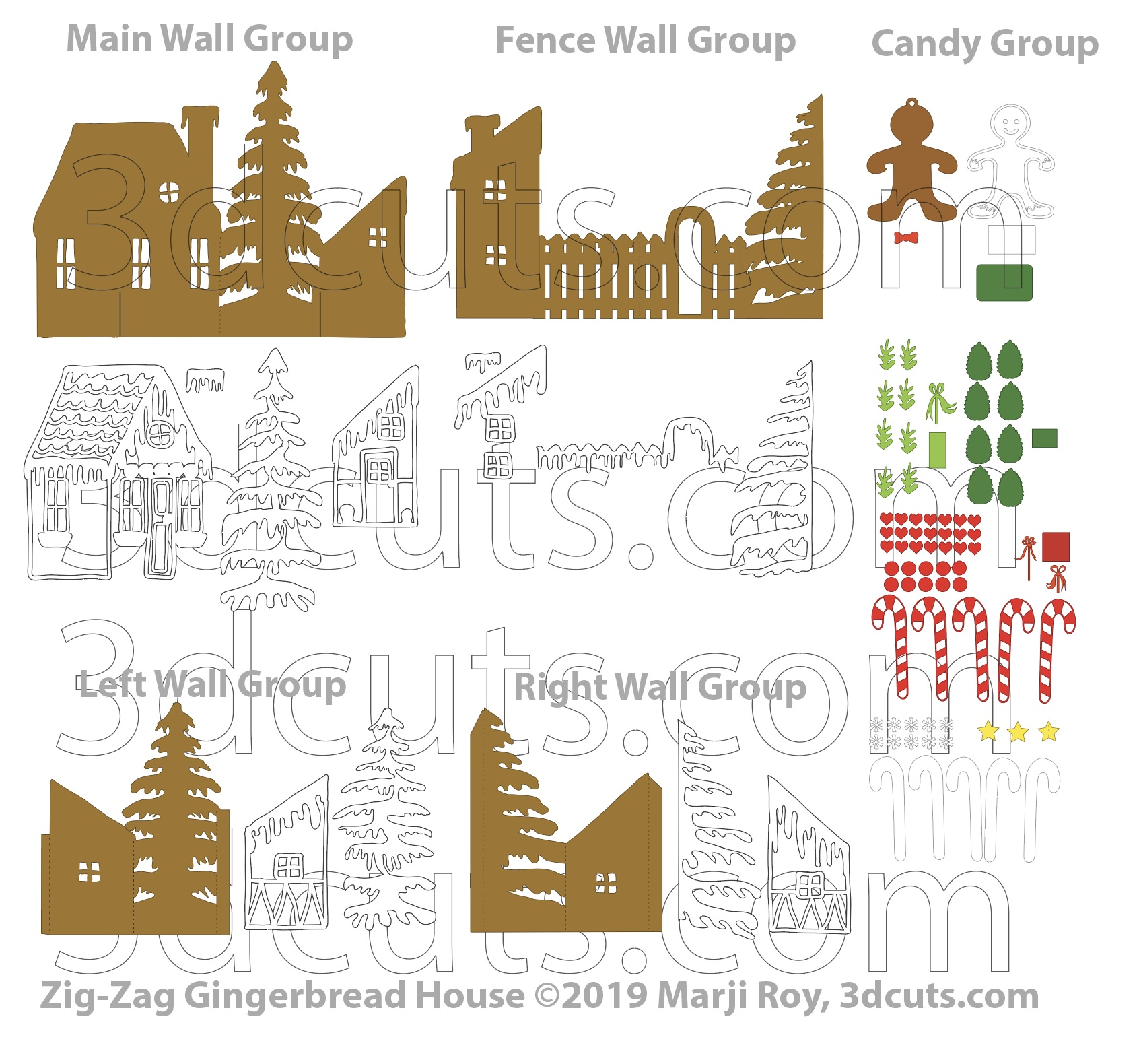 Gingerbread House Zig Zag Card, ©3DCuts.com, Marji Roy, 3D cutting files in .svg, .dxf, and .pdf formats for use with Silhouette, Cricut and other cutting machines, paper crafting files