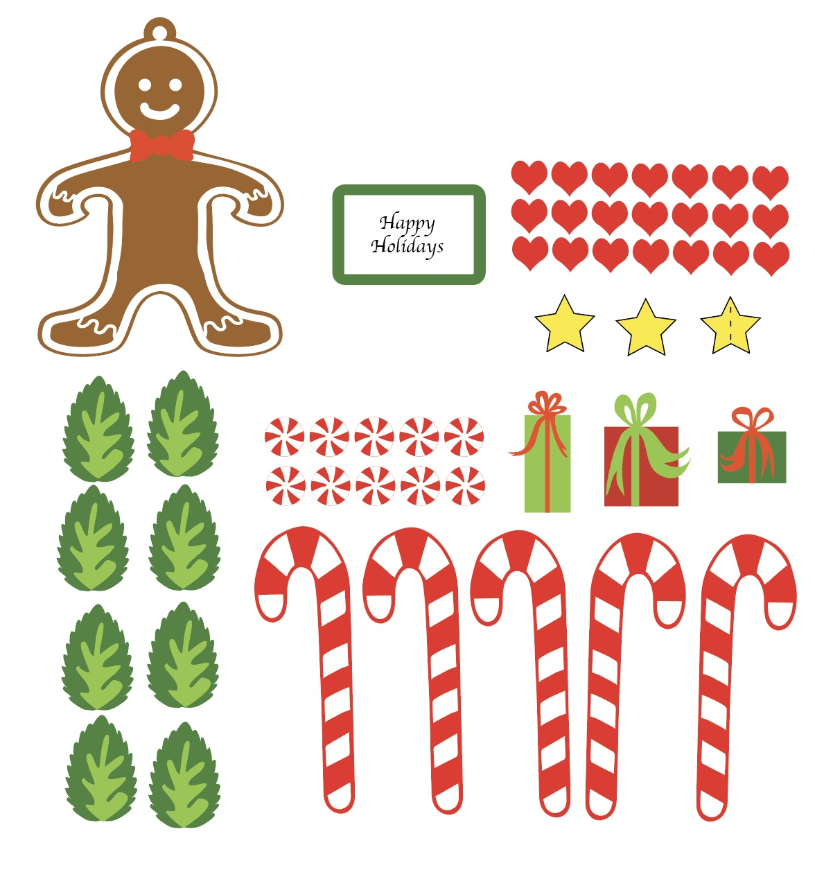 This image is the Print and cut file for the candy and gingerbread man. You can choose to use print and cut features to save time. Be sure to select cut outline options before cutting.