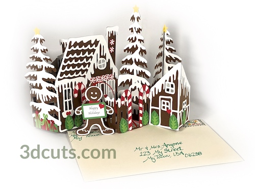 Gingerbread House Zig Zag Card, copyright 3DCuts.com, Marji Roy, 3D cutting files in .svg, .dxf, and .pdf formats for use with Silhouette, Cricut and other cutting machines, paper crafting files