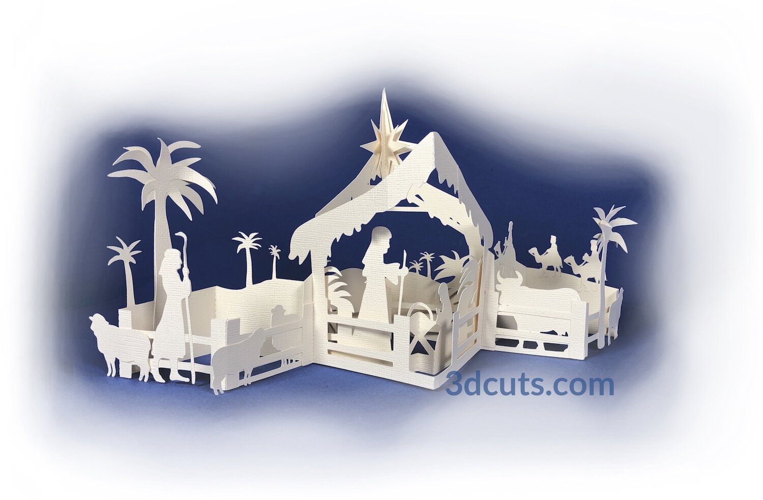 Nativity Zig Zag Card, copyright 3DCuts.com, Marji Roy, 3D cutting files in .svg, .dxf, and .pdf formats for use with Silhouette, Cricut and other cutting machines, paper crafting files