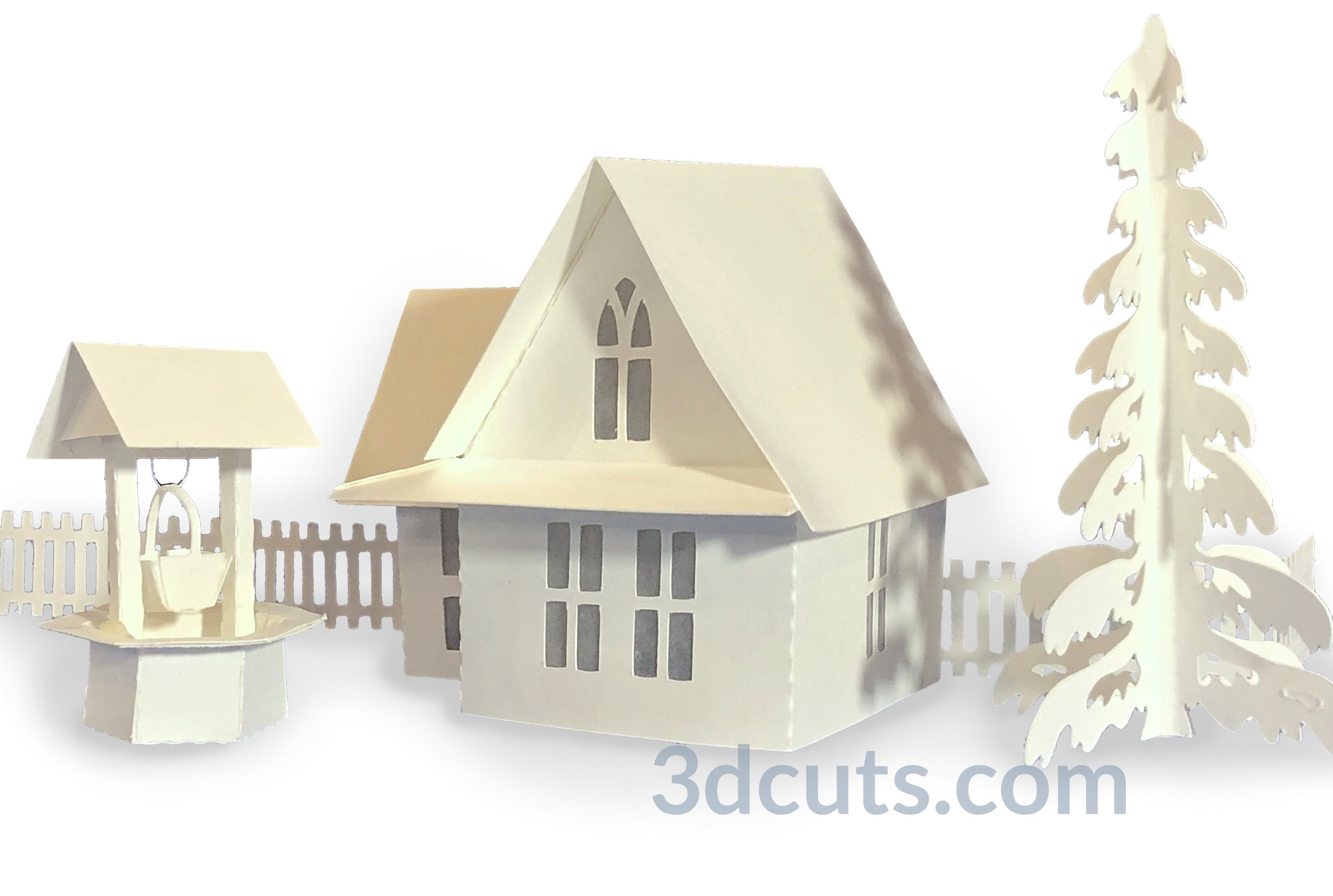 Tea Light Village, 3DCuts.com, Marji Roy, 3D cutting files in .svg, .dxf, and .pdf formats for use with Silhouette, Cricut and other cutting machines, paper crafting files