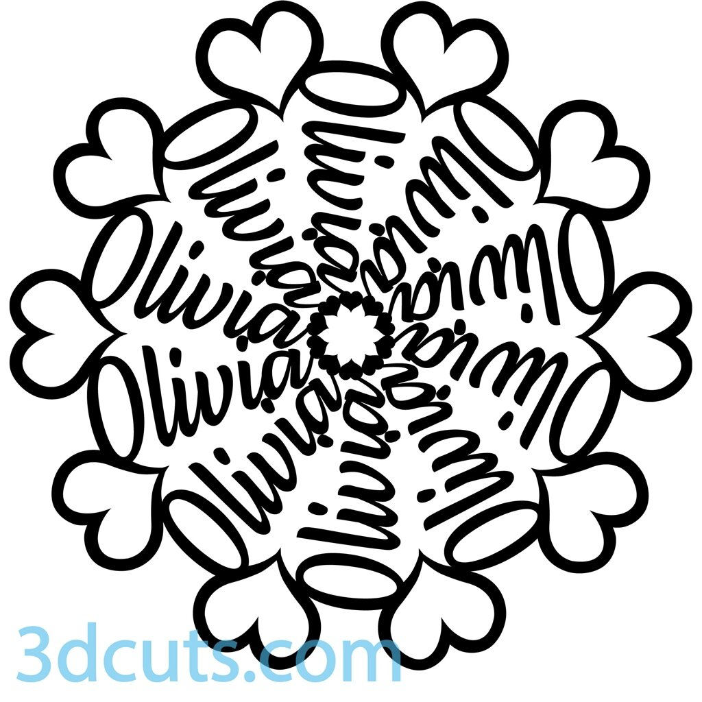 Name Mandalas, 3DCuts.com, Marji Roy, 3D cutting files in .svg, .dxf, and .pdf formats for use with Silhouette, Cricut and other cutting machines
