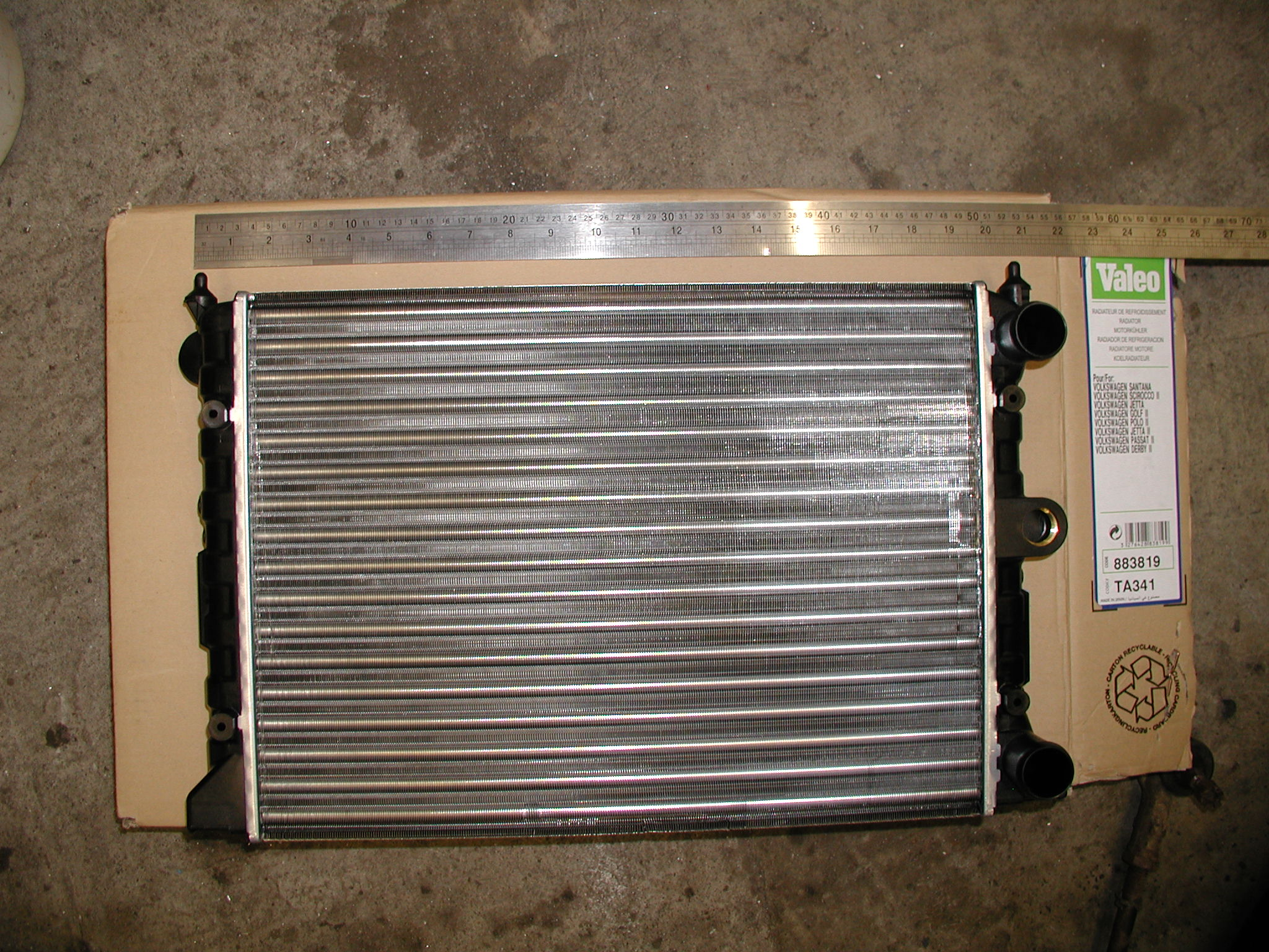 Here is a radiator which I purchased recently. It is used in a variety of Volkswagon cars including the Passat 1.8 and several Golf and Polo models. You can find it in my radiator database under OEM part number 171121253CJ or BuyPartsBy part number 883819. It only cost about £45 inc vat and p&p and was delivered next day.