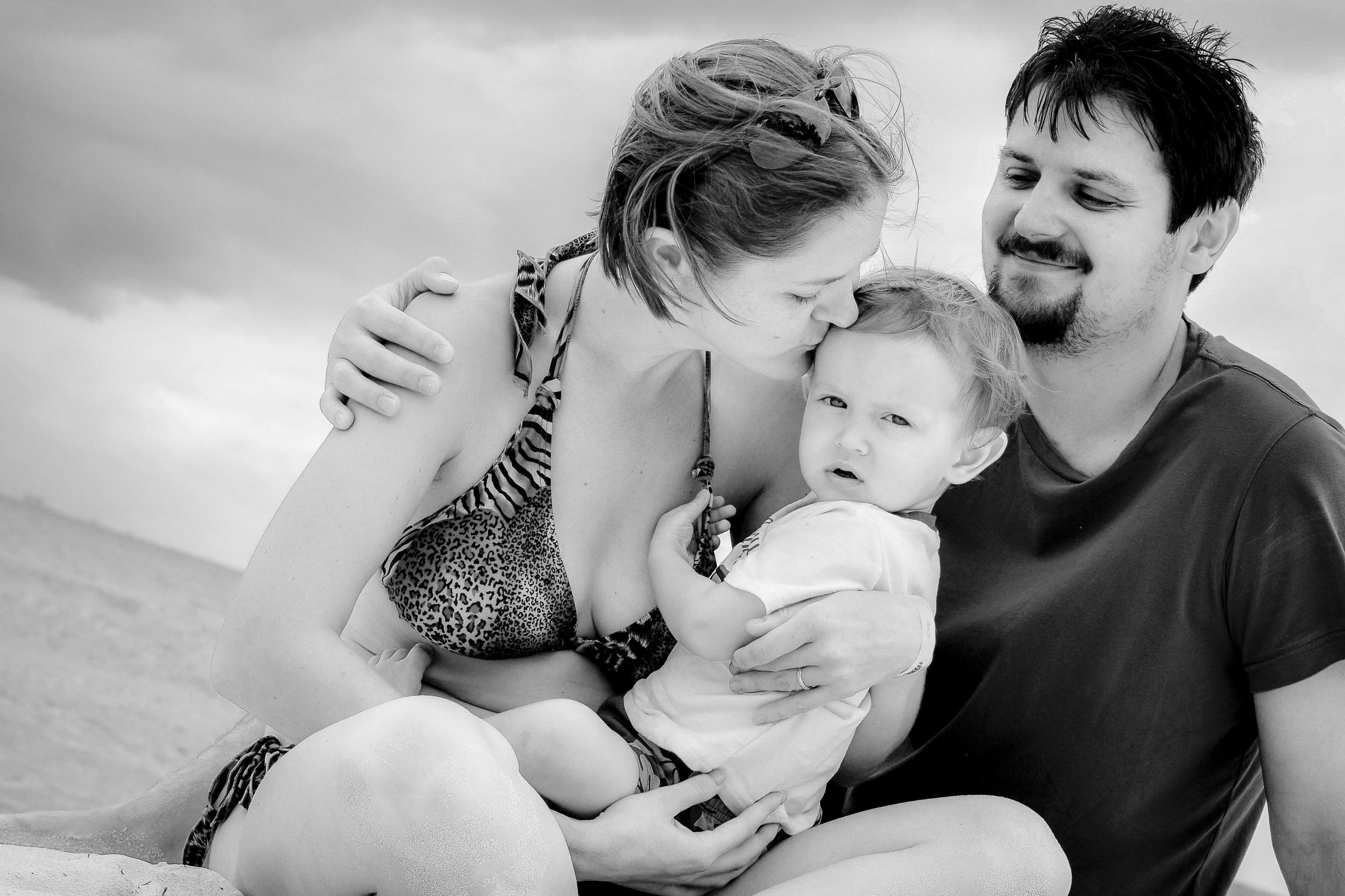 Family on the Mexico beach