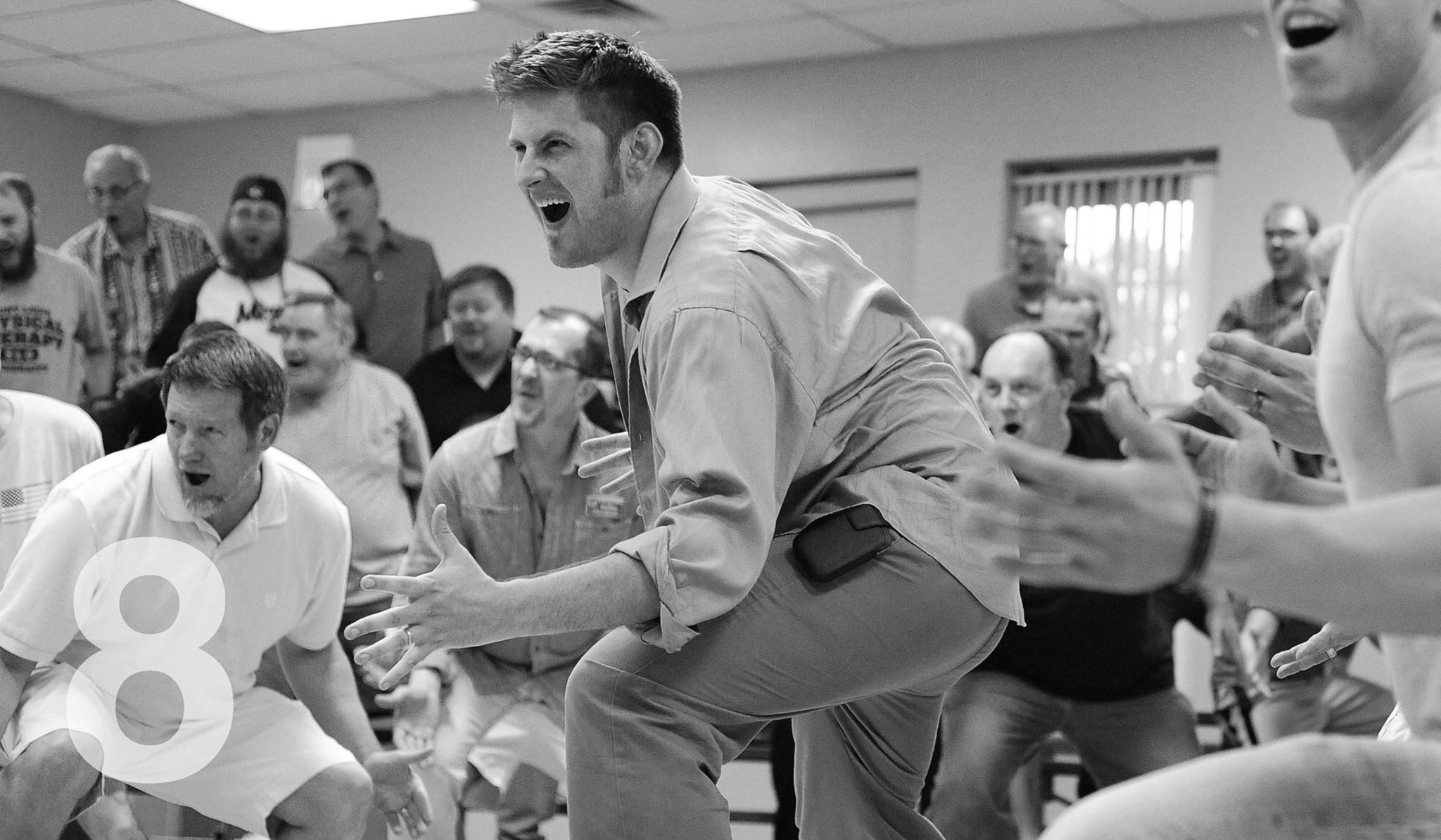 "Adam Jurotich, center, dances during a rehearsal of ""Putting it Together,"" a Stephen Sondheim piece. Photo by Joel Currier"