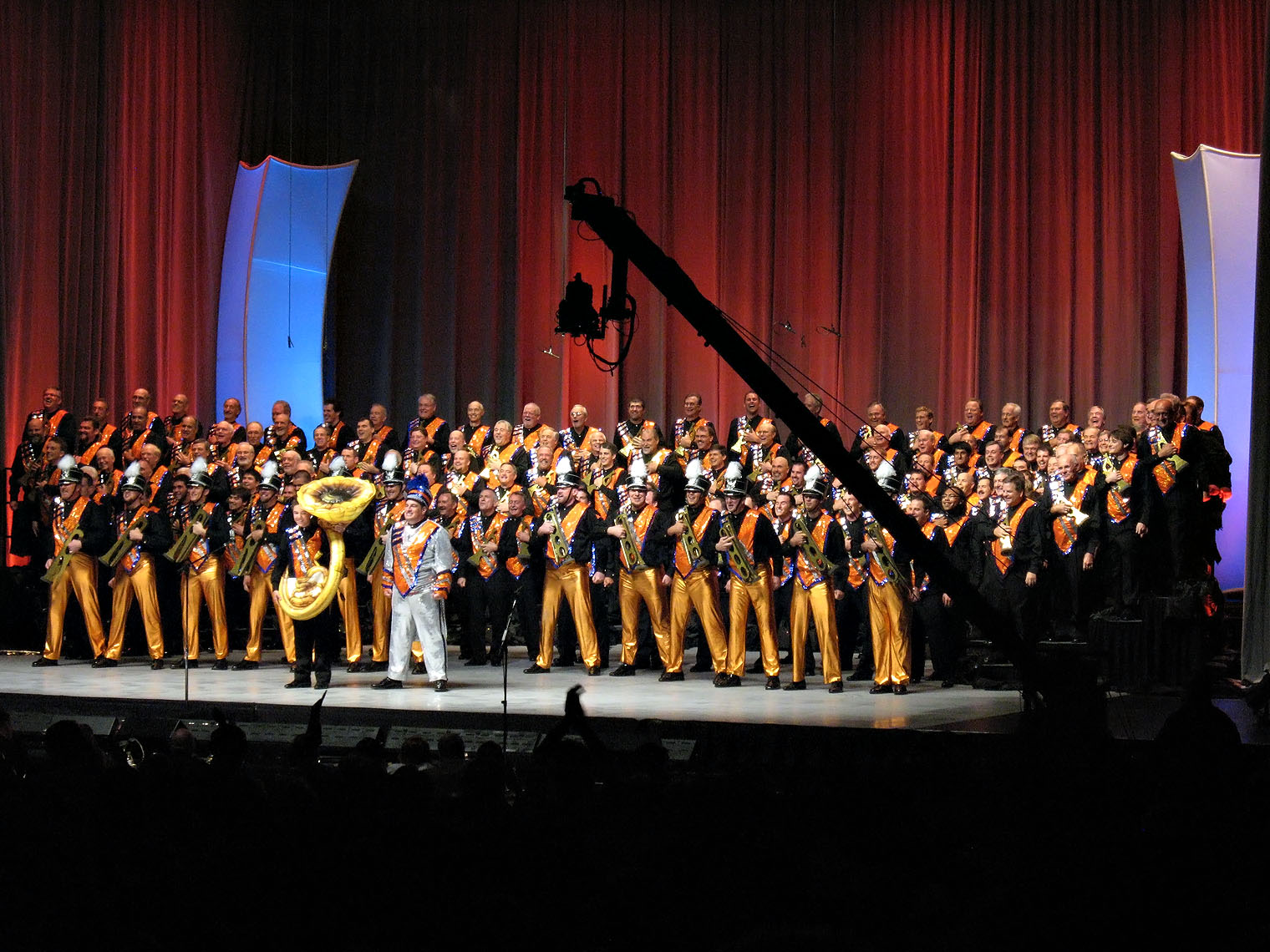"AOH performs ""Seventy-Six Trombones"" at the Barbershop Harmony Society's 2009 international contest in Anaheim, Calif. Photo by Kate Westhoff"